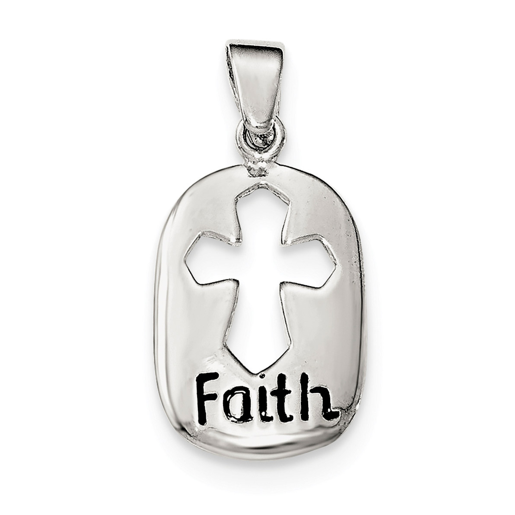 Sterling Silver Polished Faith Pendant
