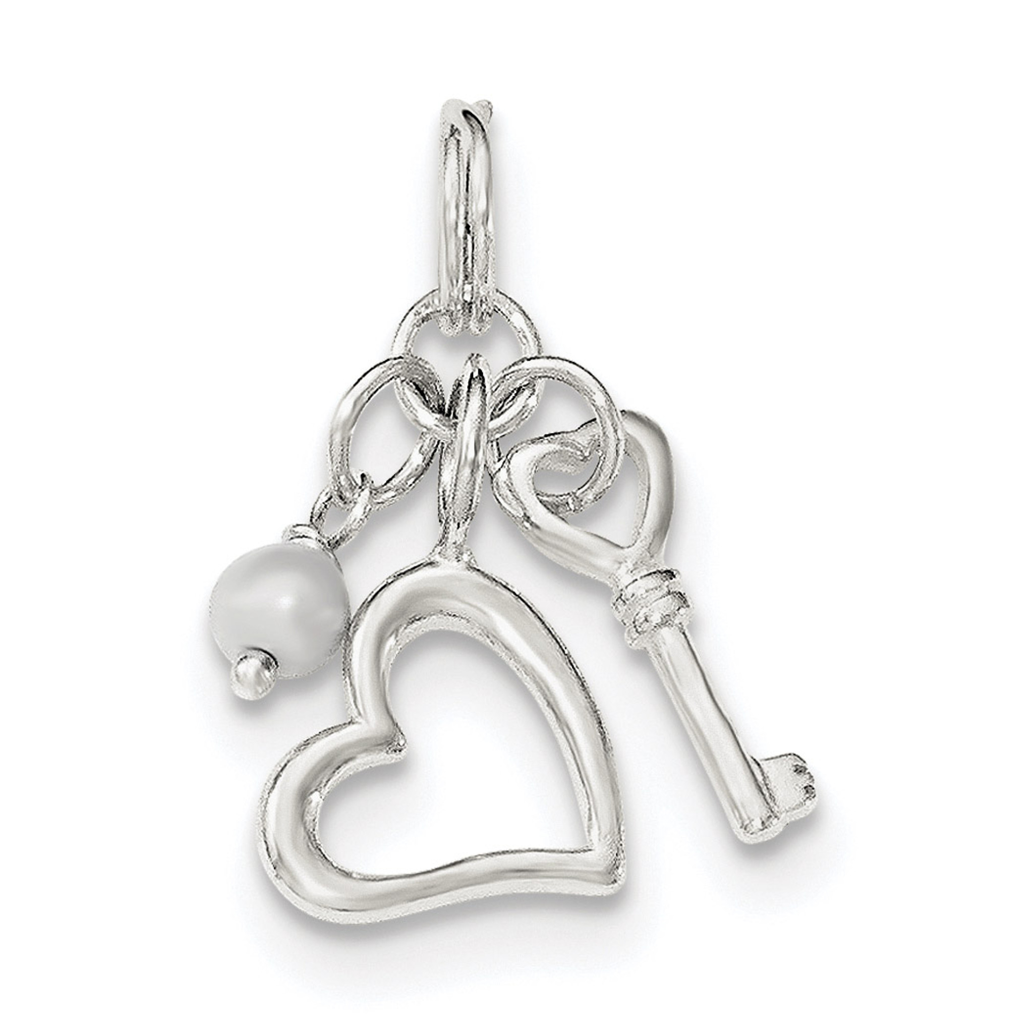 Sterling Silver Polished Key Heart Pendant
