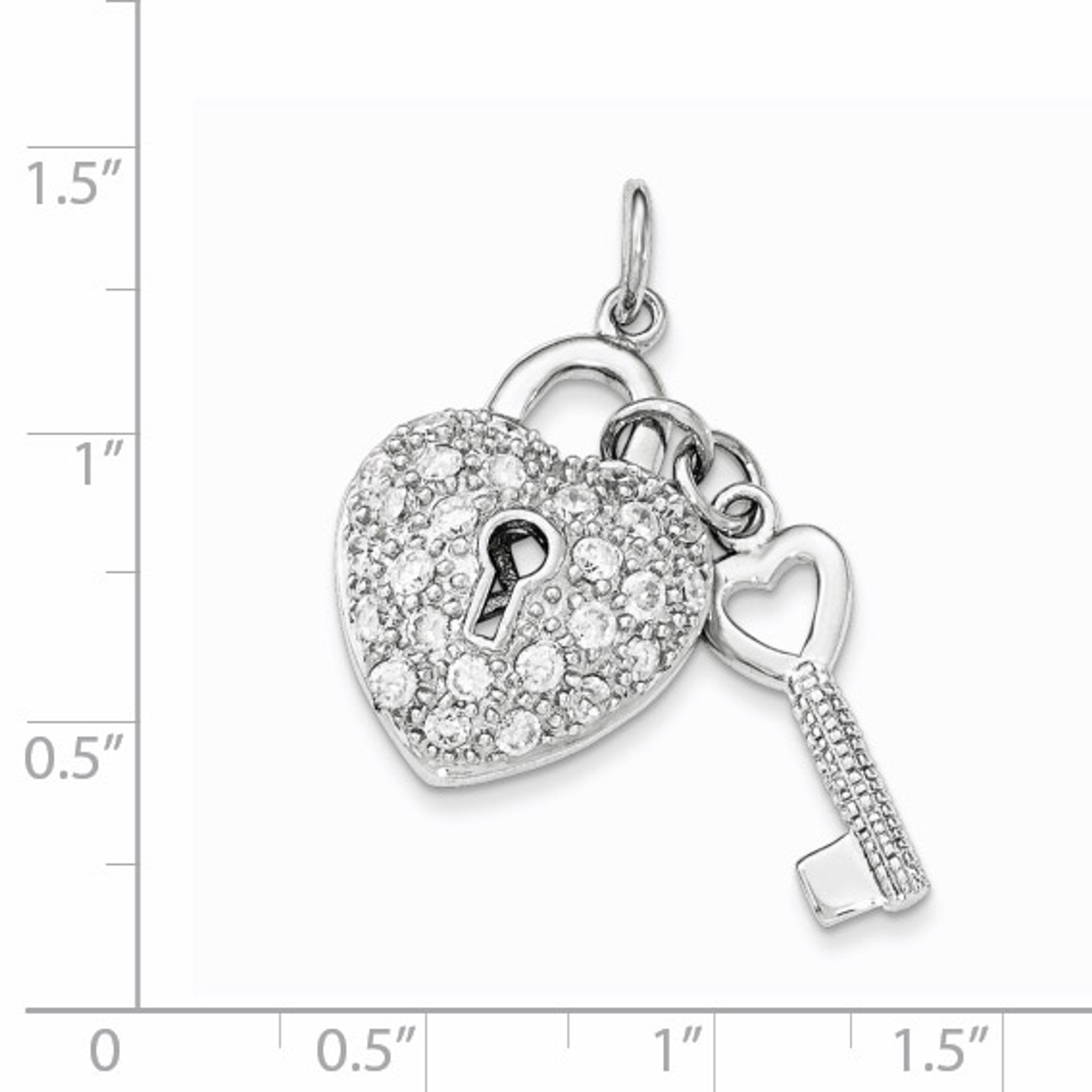 Sterling Silver Rhodium Plated Synthetic CZ Key Pendant