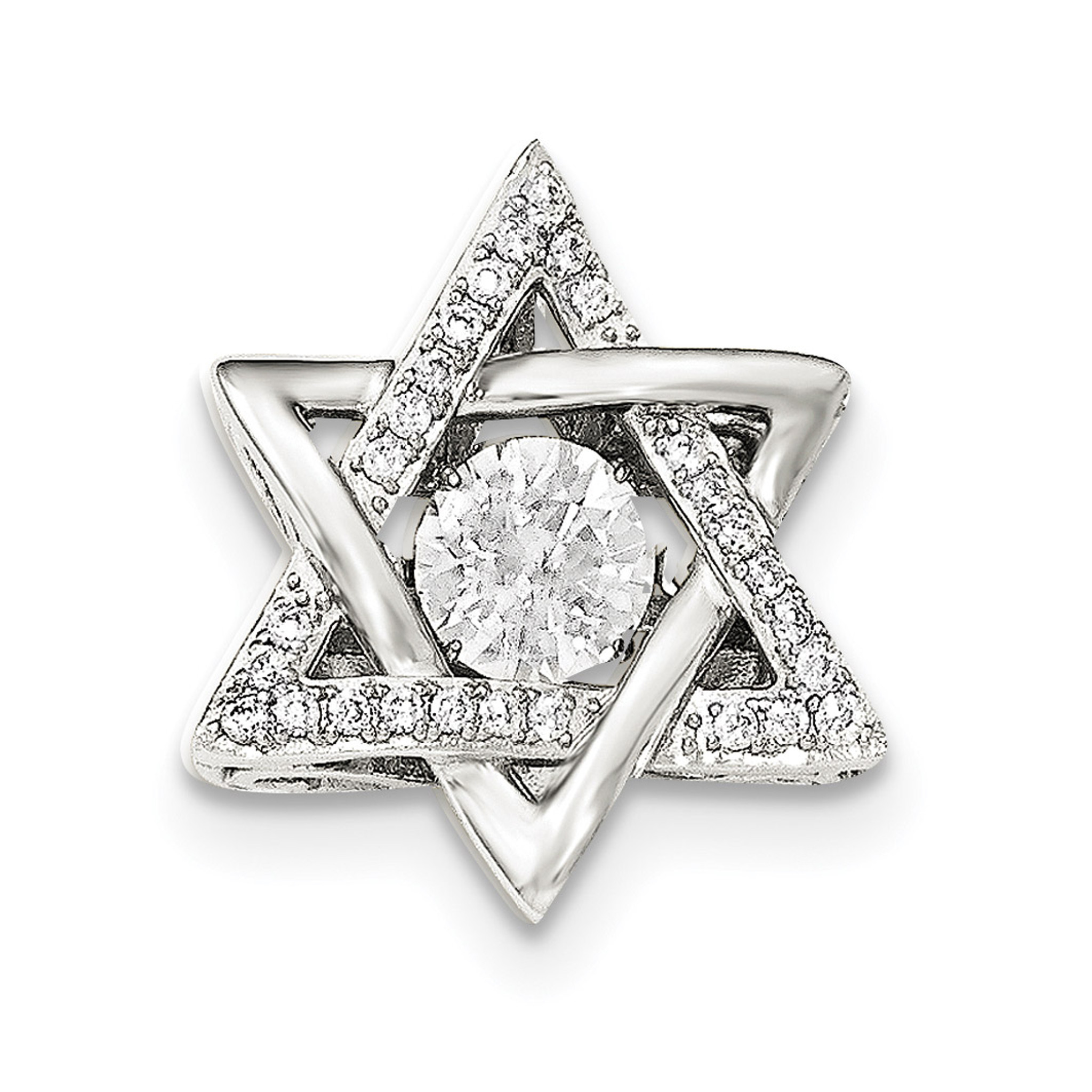925 Sterling Silver Platinum Plated Vibrant Swar Zircon Pendant
