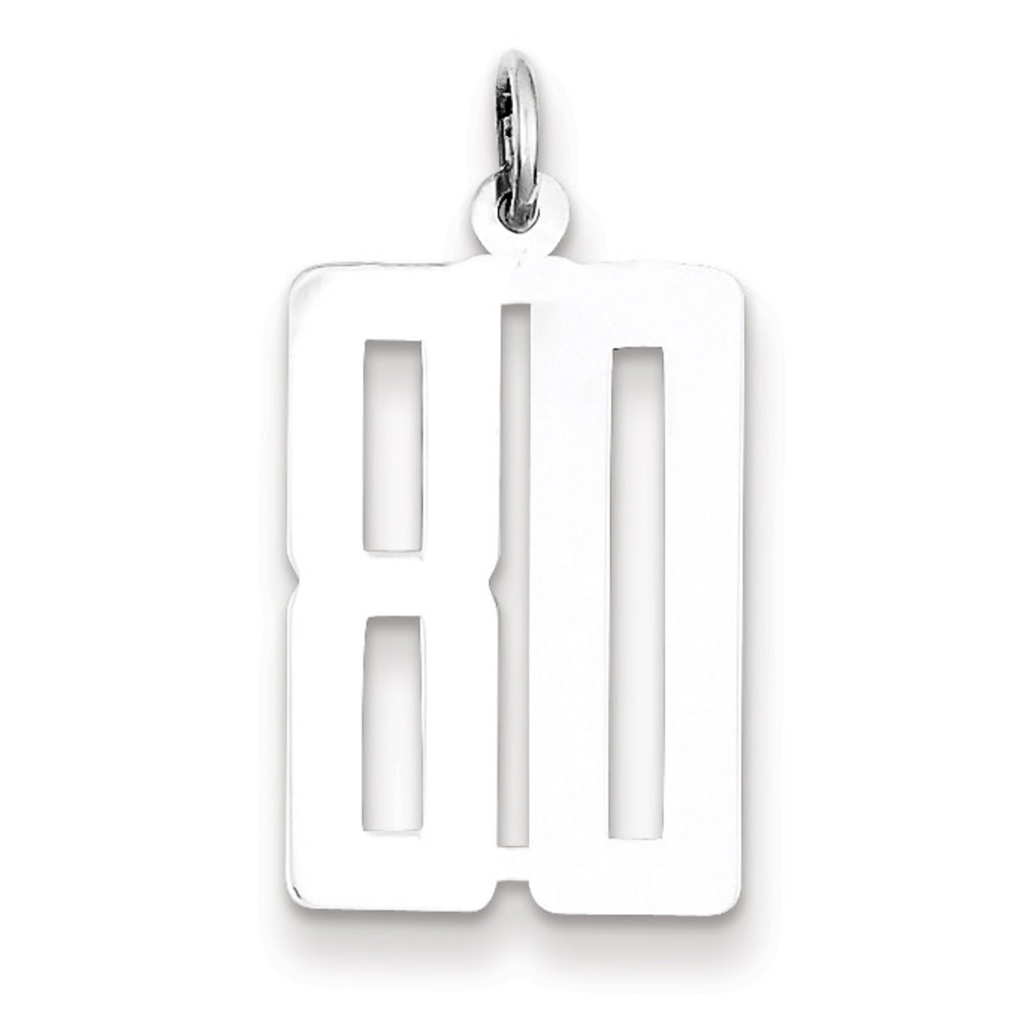 925 Sterling Silver Small Polished Number 80 Charm and Pendant