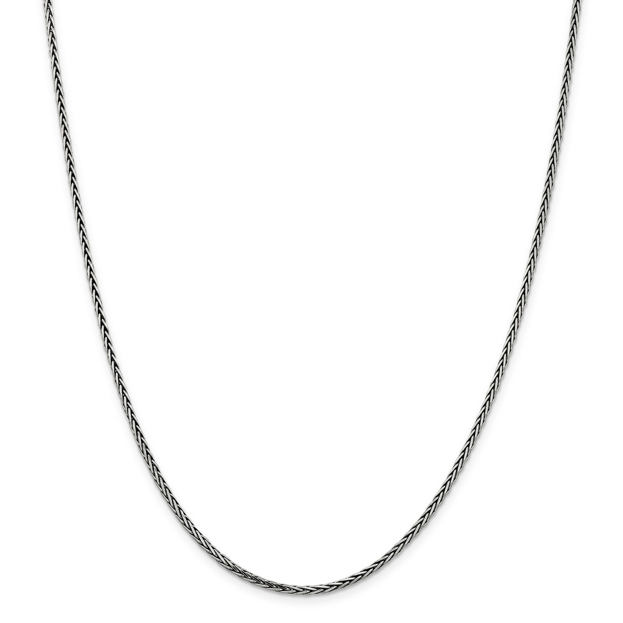 Sterling Silver Solid 1.6mm Antiqued Square Spiga Chain