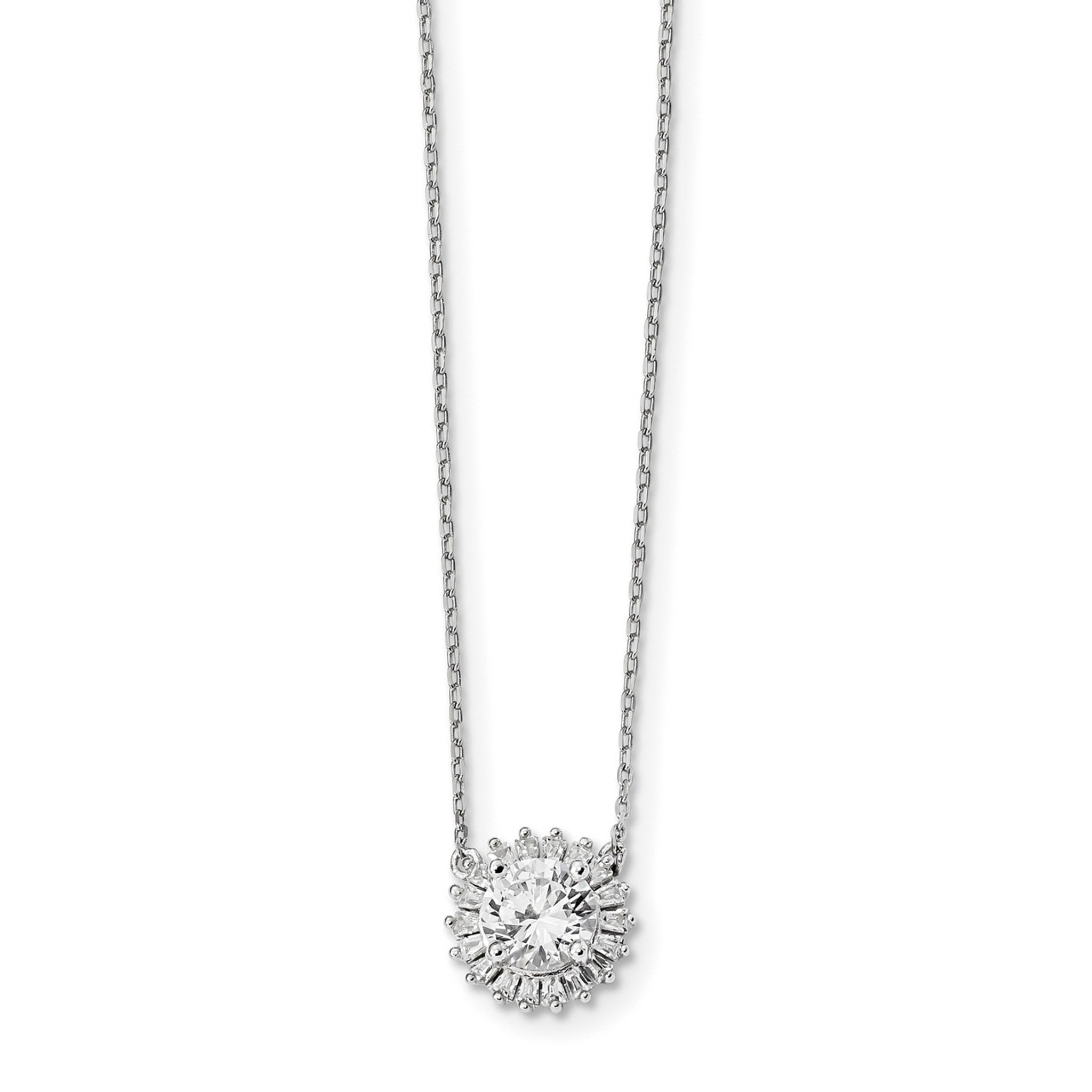 925 Sterling Silver Polished Fancy Clear CZ Circle Charm Pendant
