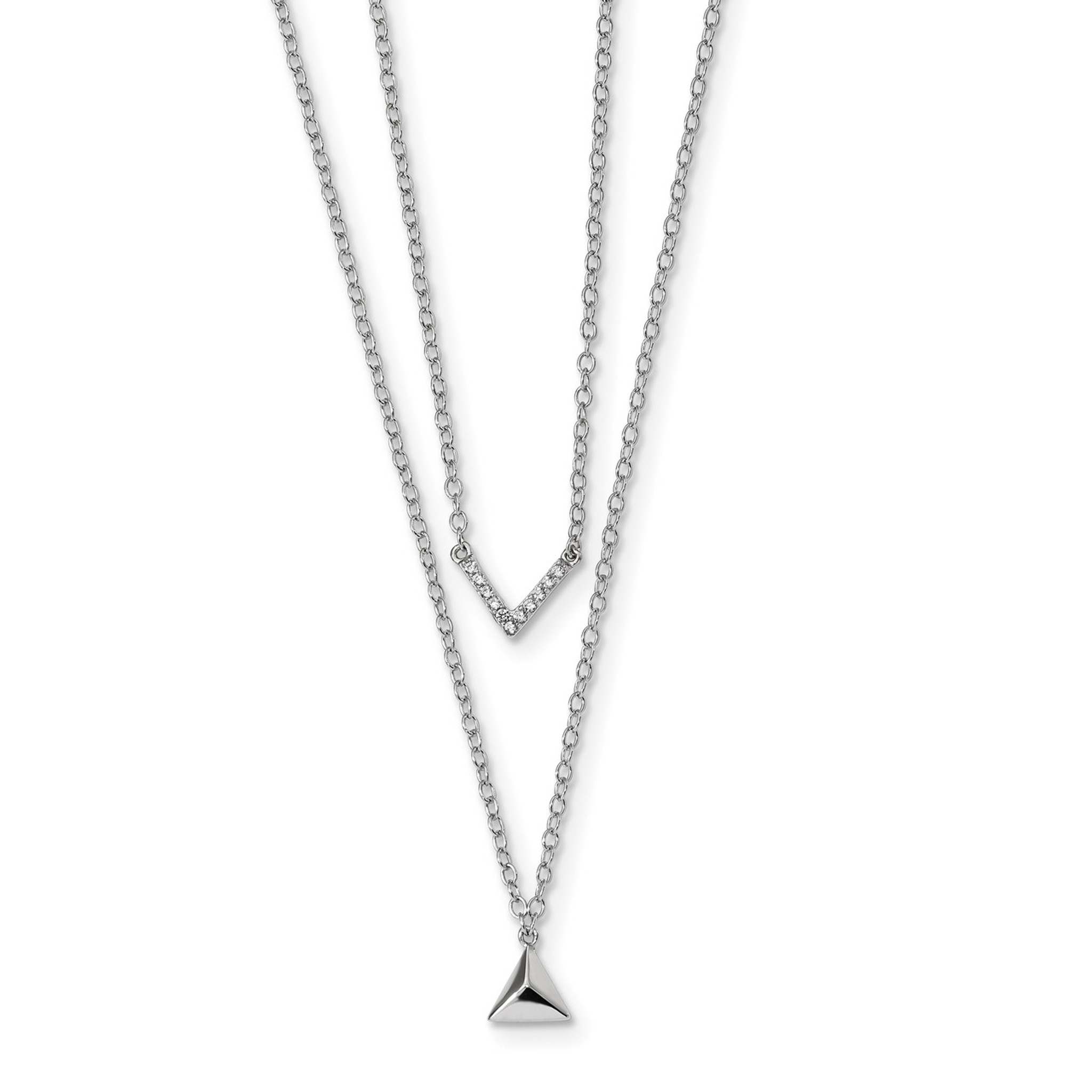 Sterling Silver 16in Polished Synthetic CZ Heart w//Wings Necklace