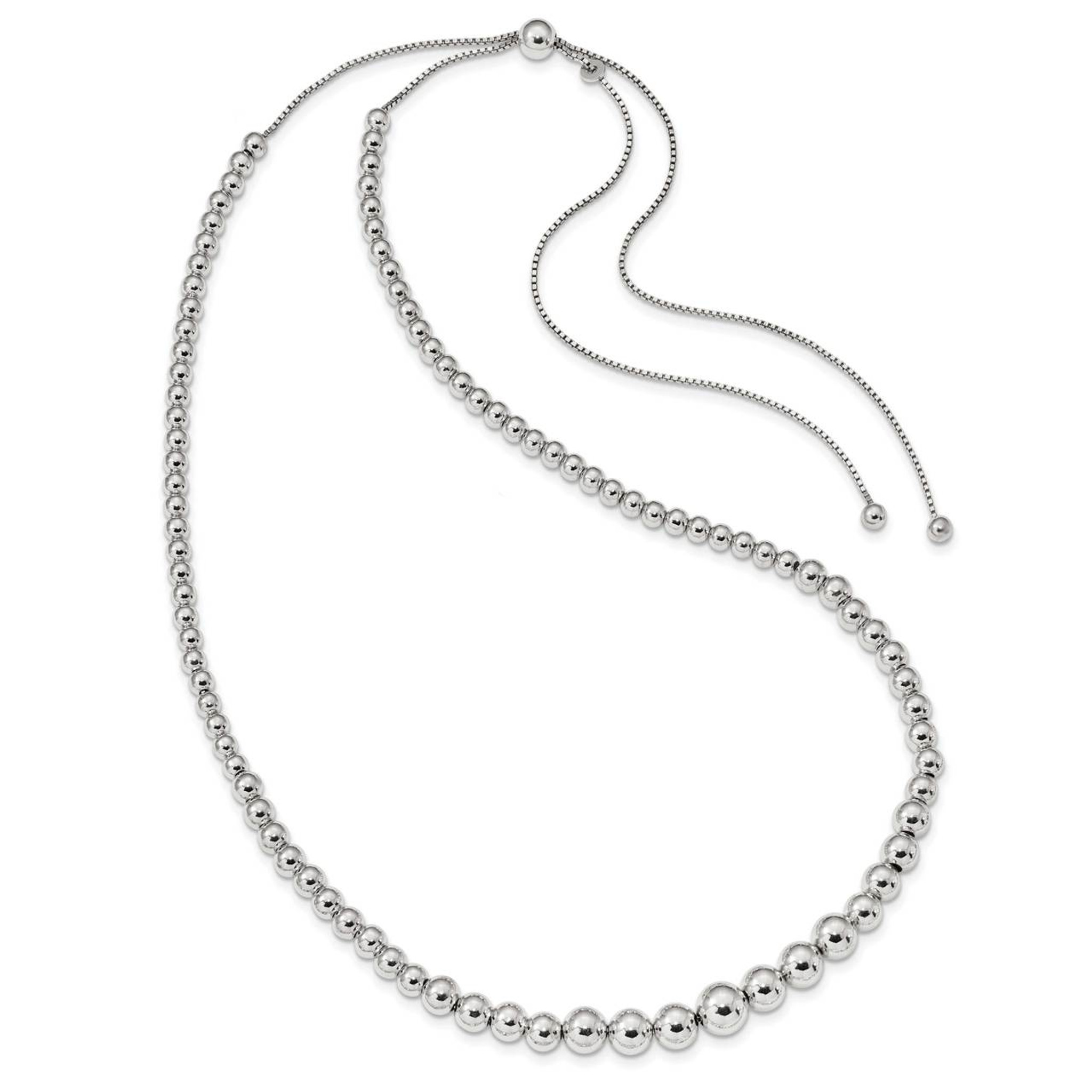 925 Sterling Silver Graduated Beads Adjustable Necklace 28inch