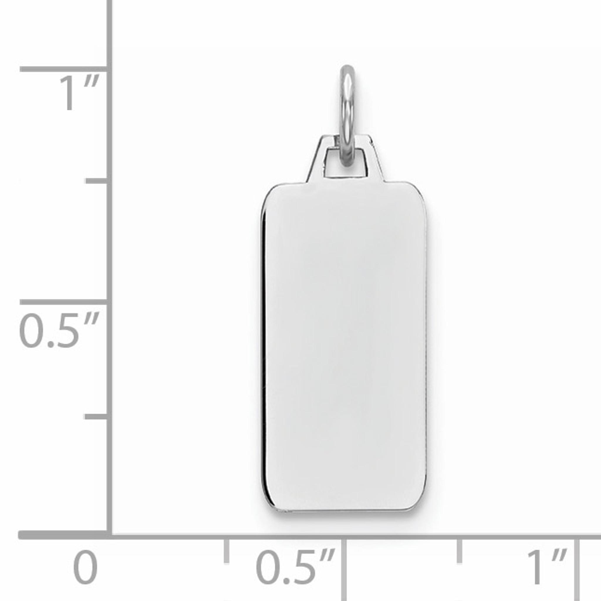 Sterling Silver Engravable Rectangle Polished Front Satin Back Disc Charm Pendant