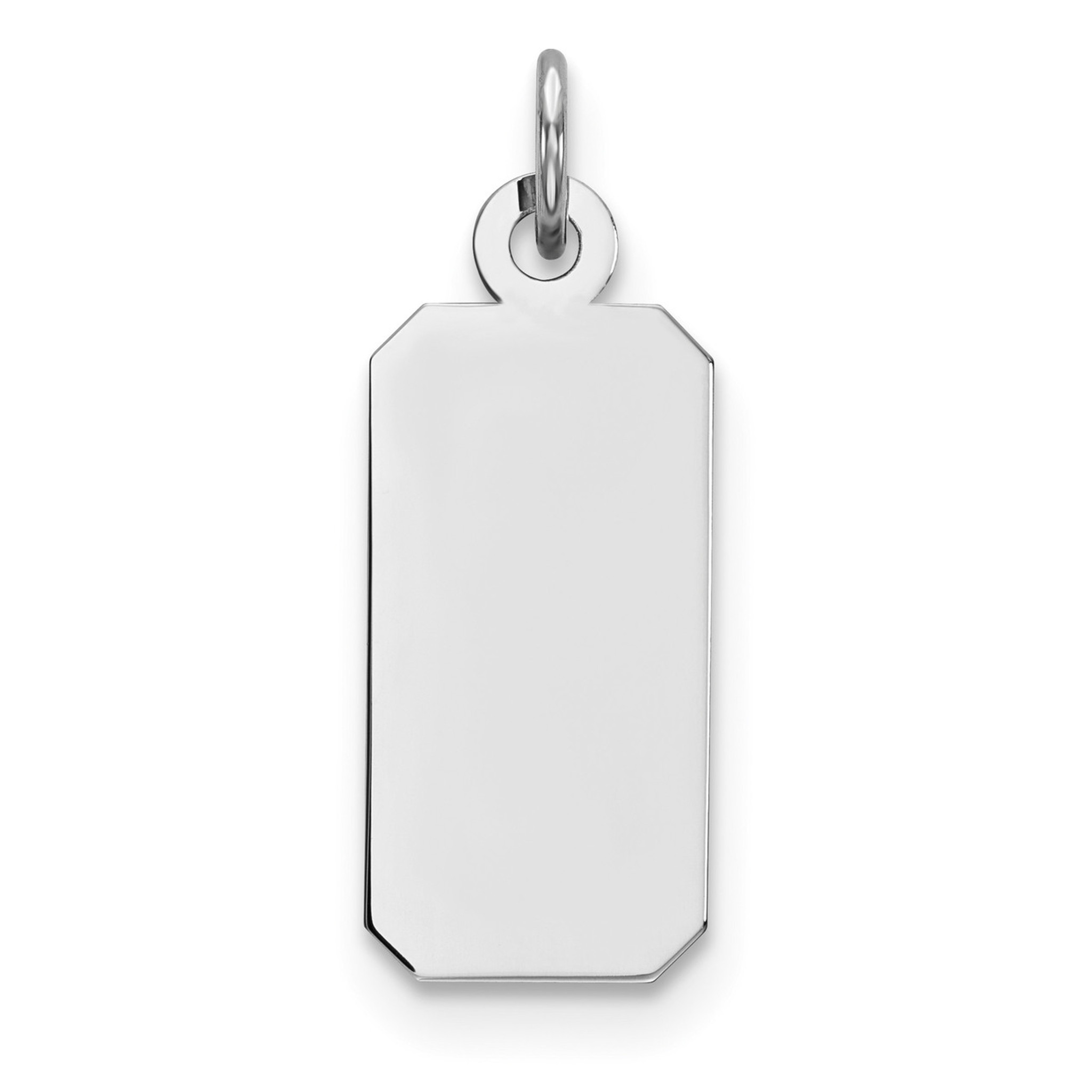 Satin Back Disc Charm and Pendant 925 Sterling Silver Engraveable Dog Tag Polished Front