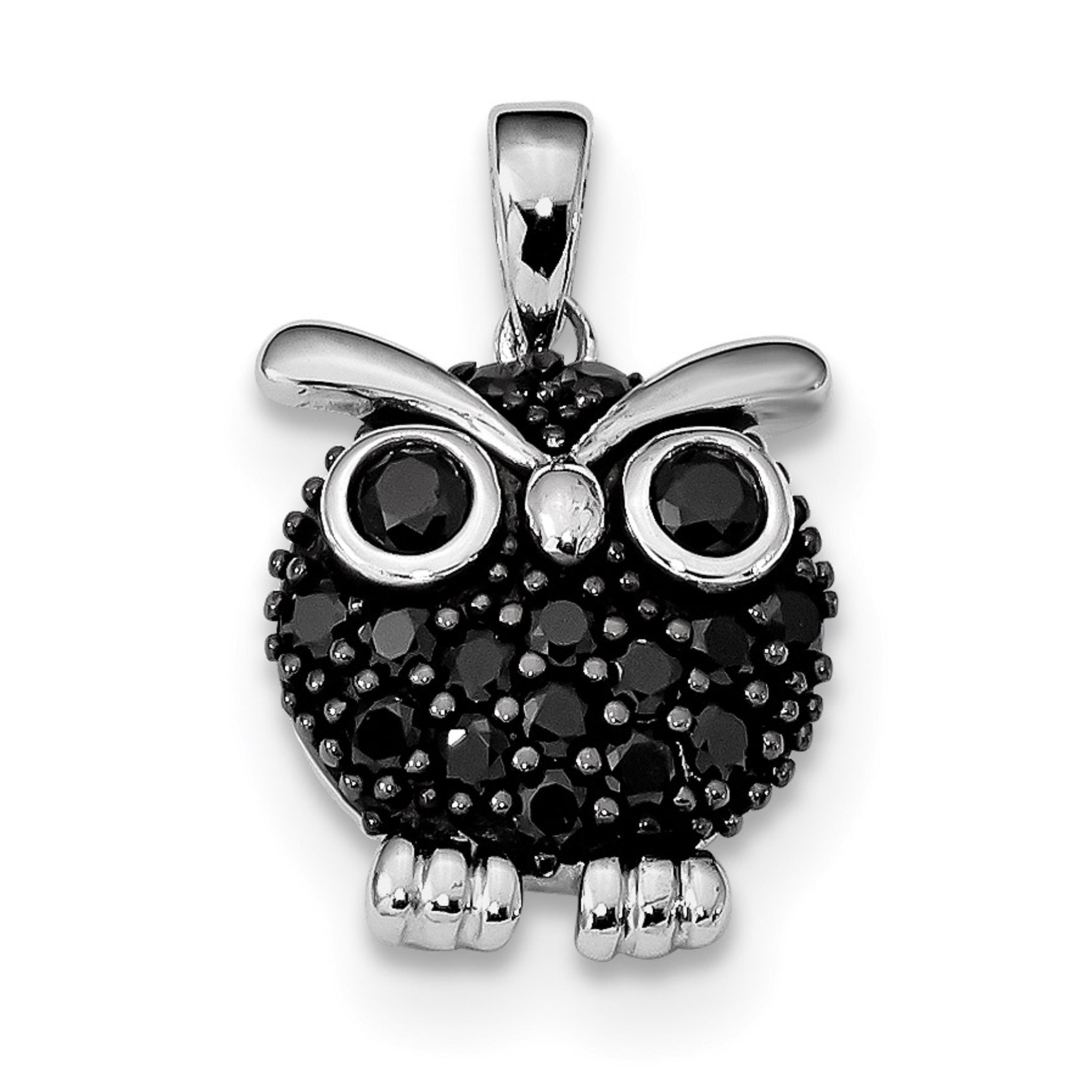 Sterling Silver Rhodium-plated Owl Chain Slide