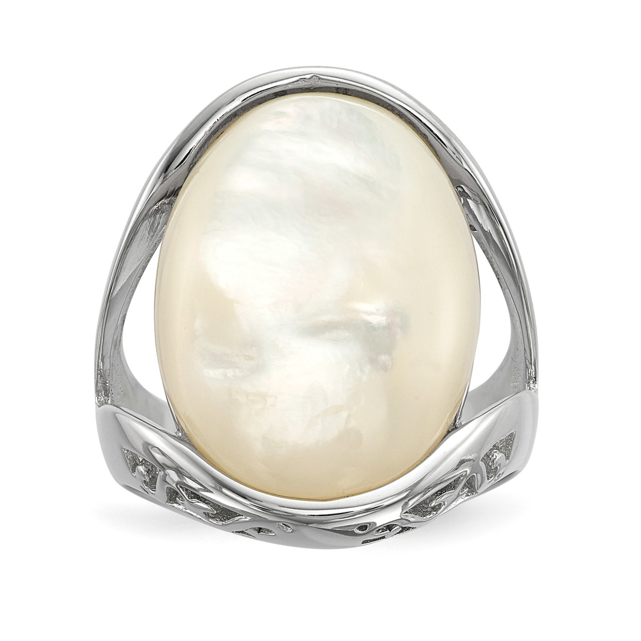 8b13d7cb58191 Mother of Pearl Ring Sterling Silver Rhodium-plated QR6754