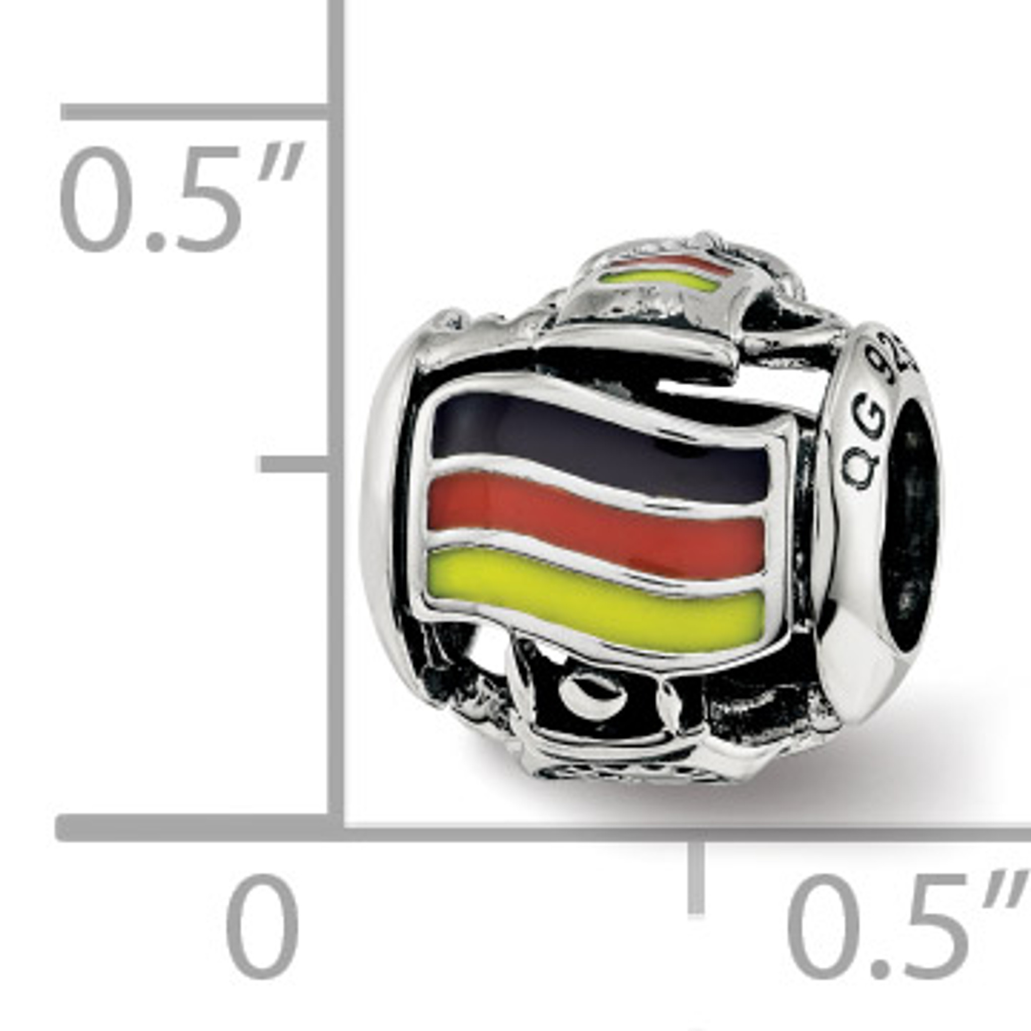 Jewelry Beads Themed Sterling Silver Reflections Enameled USA Flag Bead