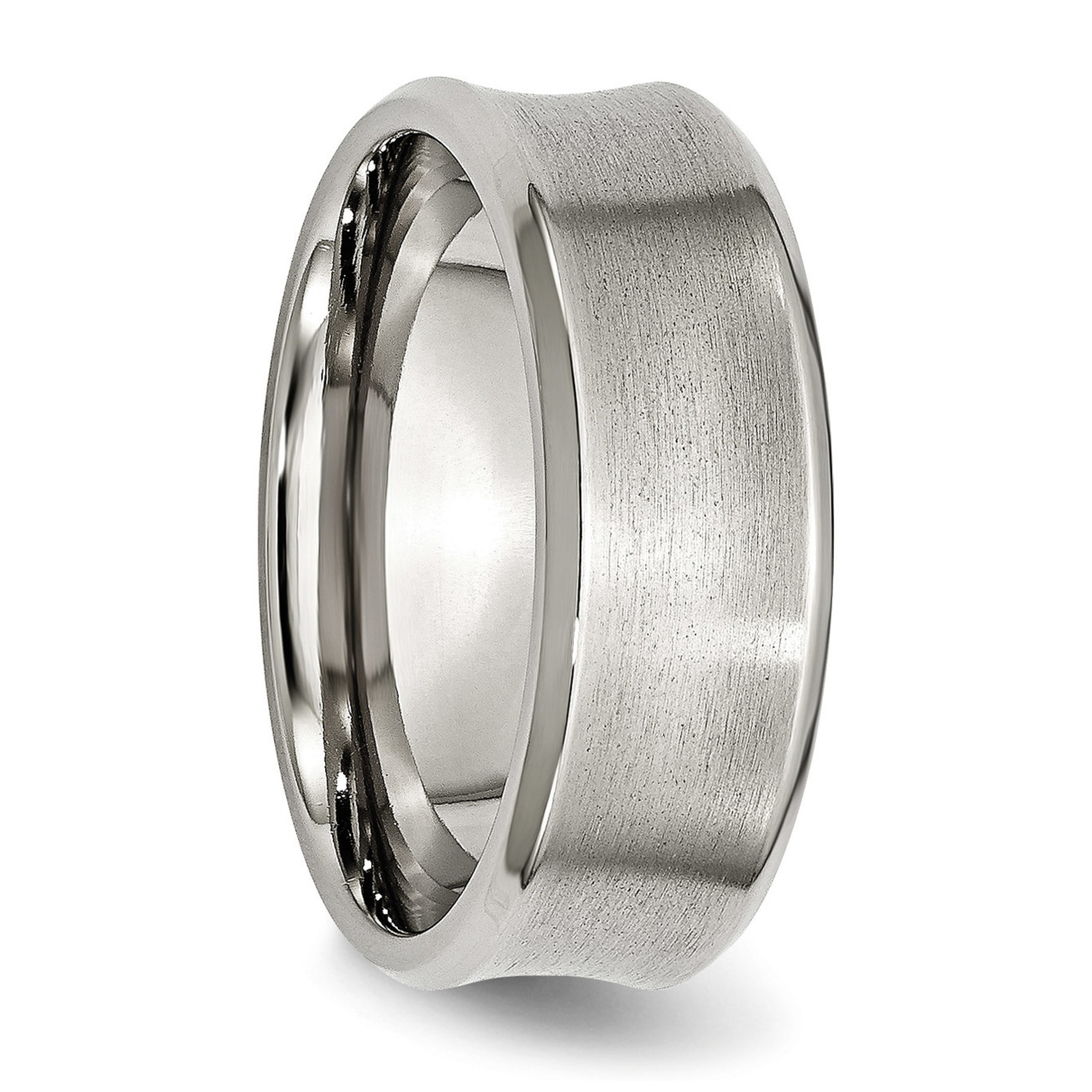 Stainless Steel Beveled Edge Concave 8mm Brushed Band Sr92: Concave Brushed Wedding Band At Websimilar.org