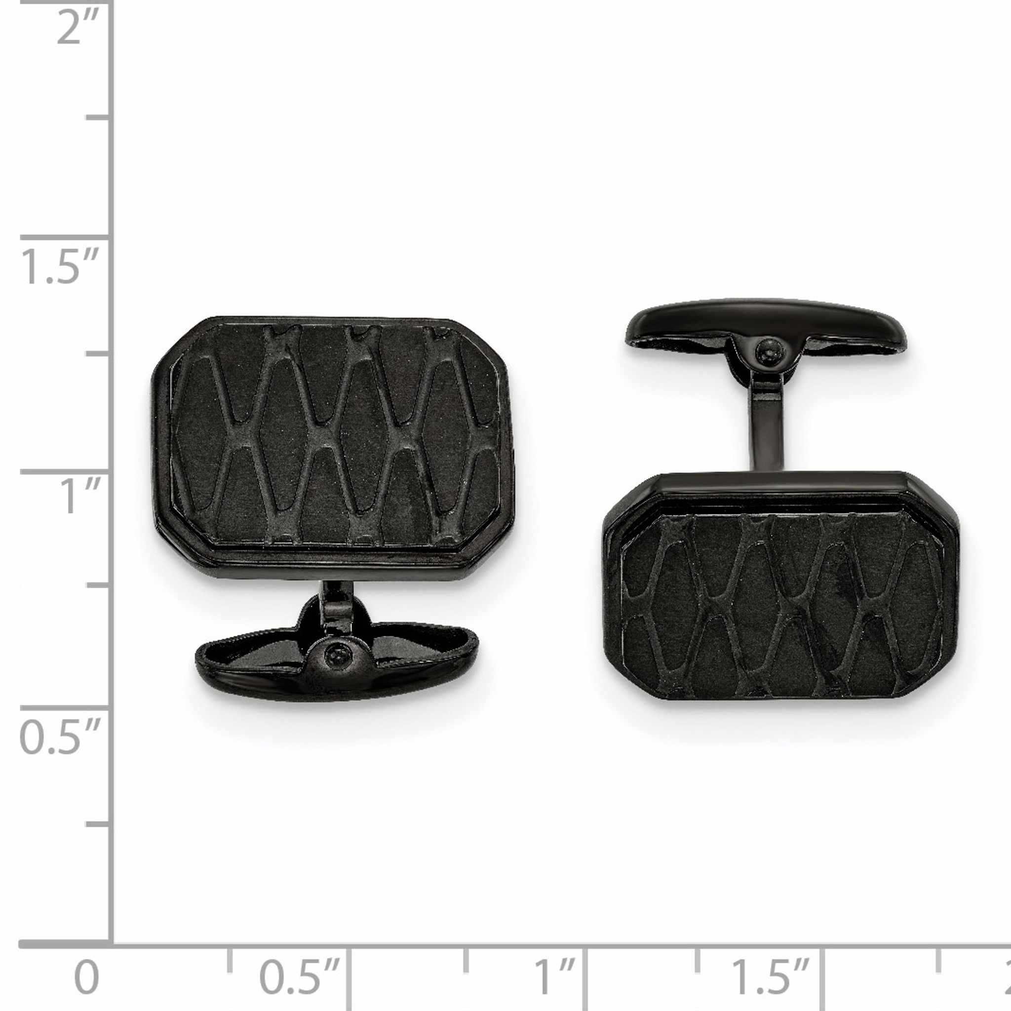 Stainless Steel Brushed IP Black-Plated Black Plated with Polished Cross Cuff Links