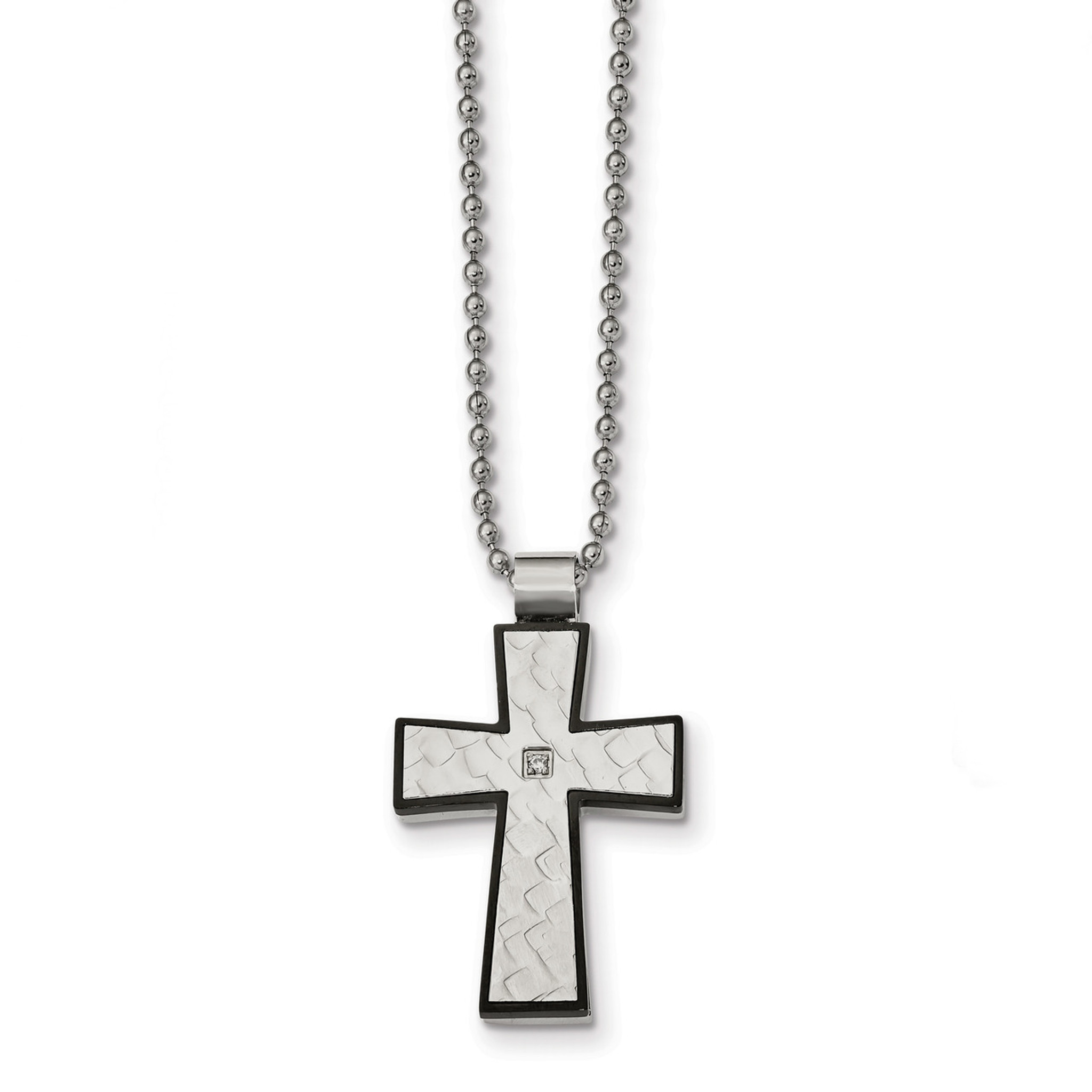 Stainless Steel Polished Moveable Cross Necklace Length 22 Width
