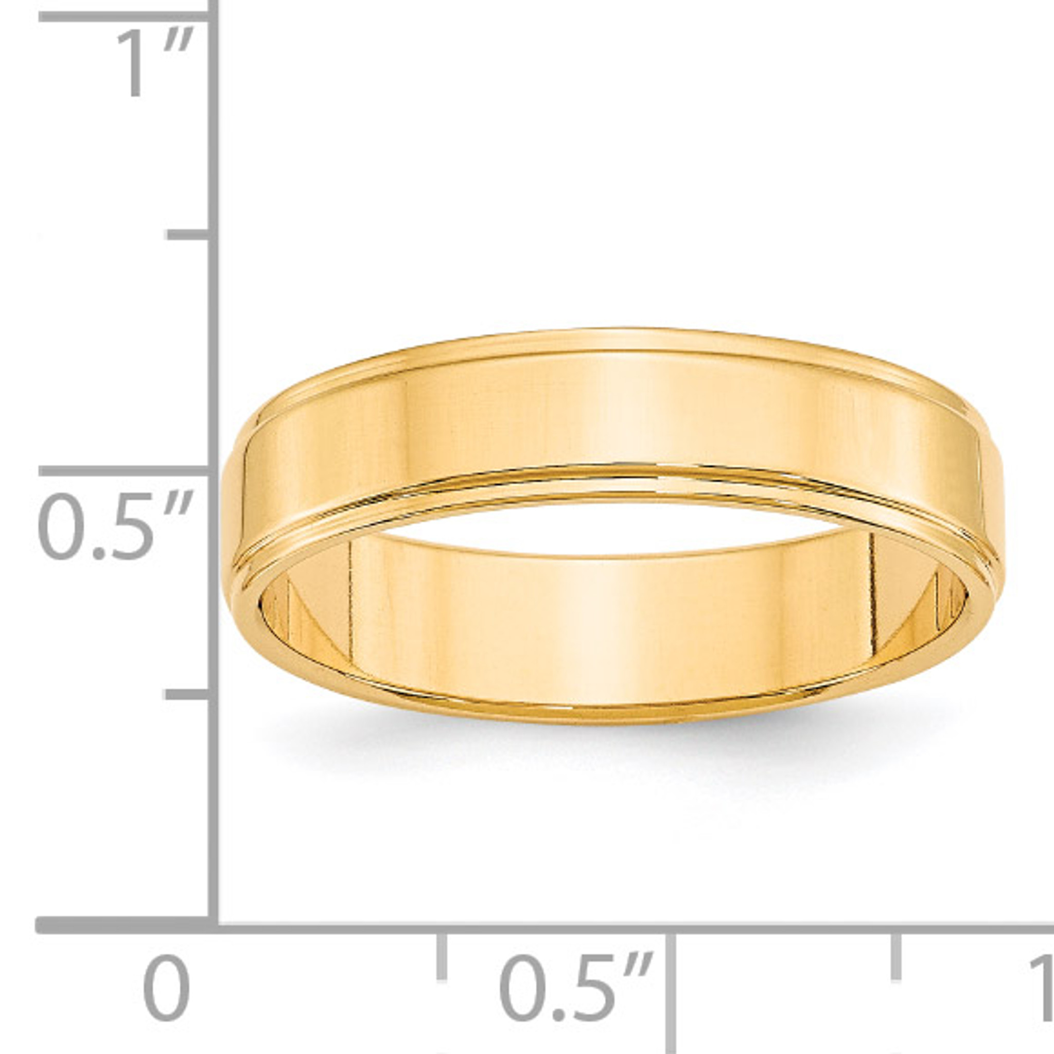 14K Yellow Gold 5mm Flat with Step Edge Band Ring