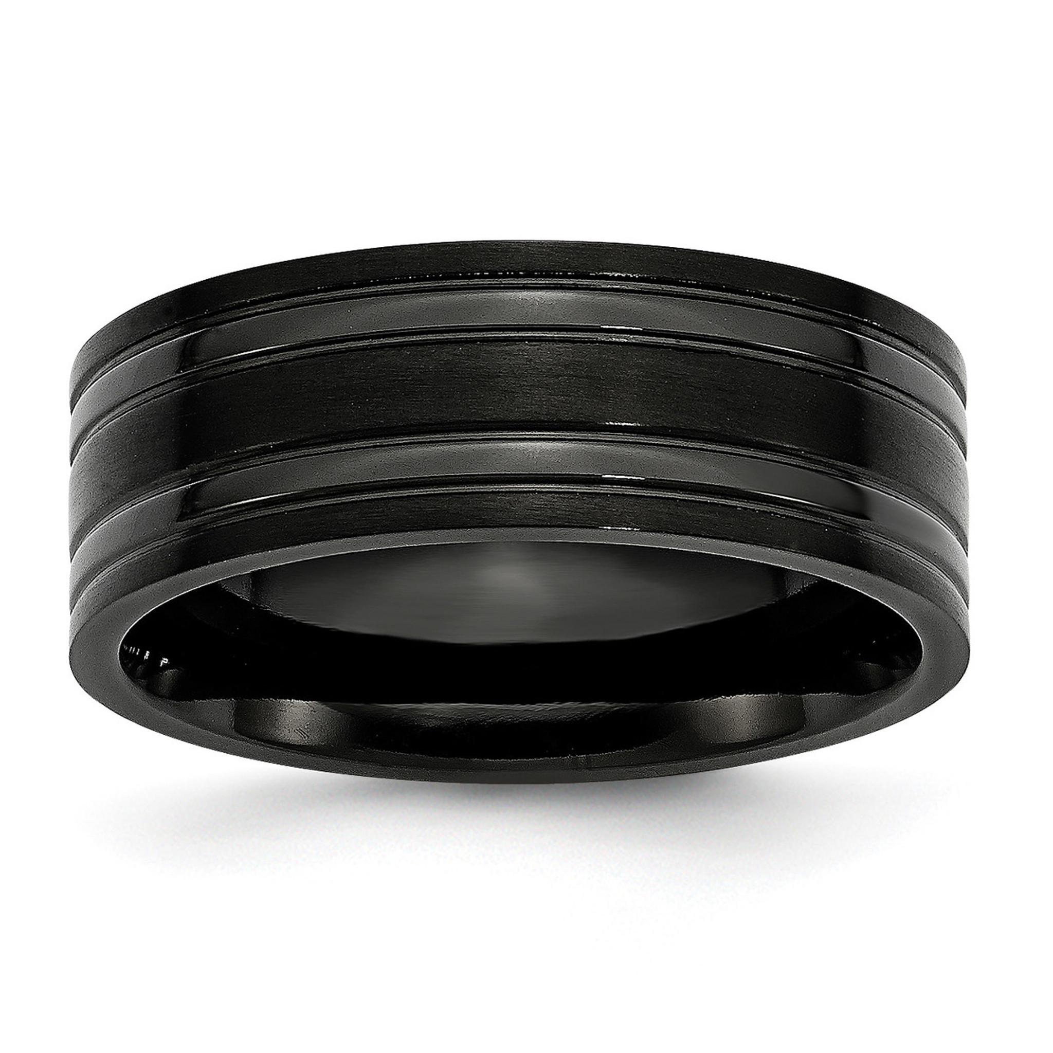 Titanium Grooved Black /& Yellow IP-Plated 8mm Brushed Band