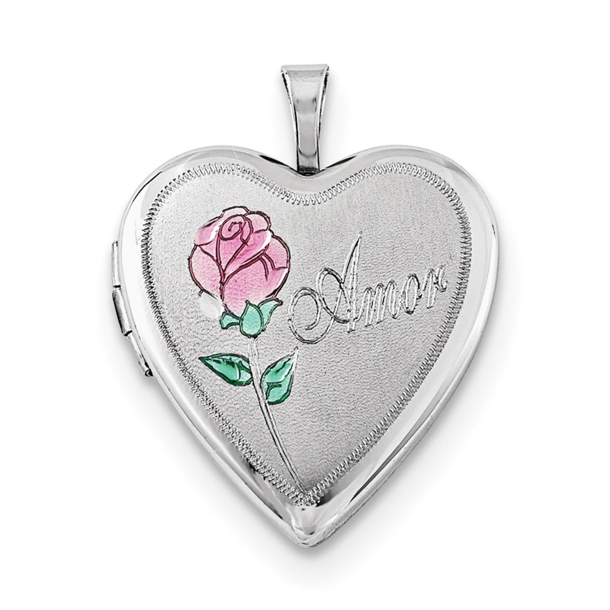 Sterling Silver 20mm Enameled Roses Te Amo Heart Locket