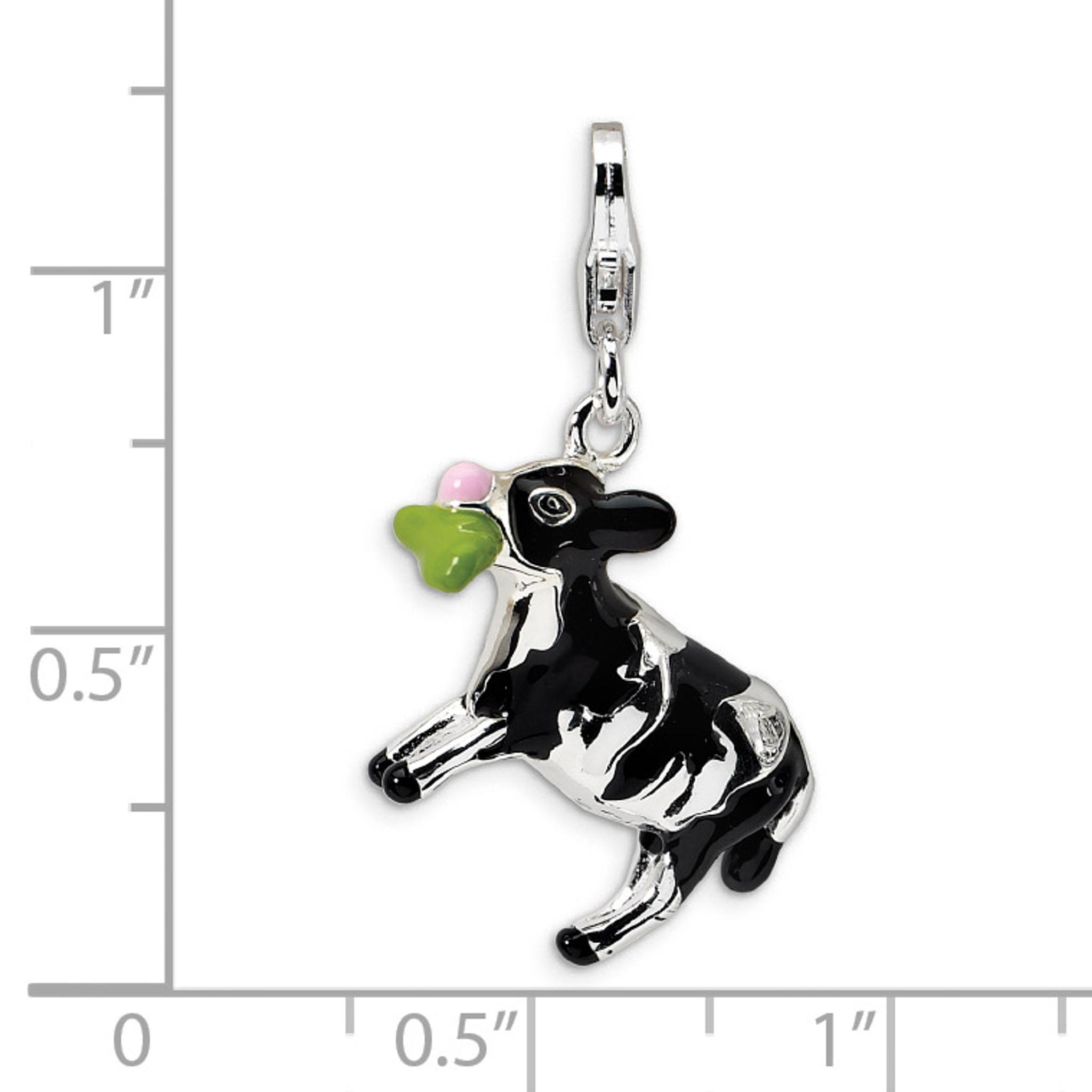 14K Enameled Cow Charm