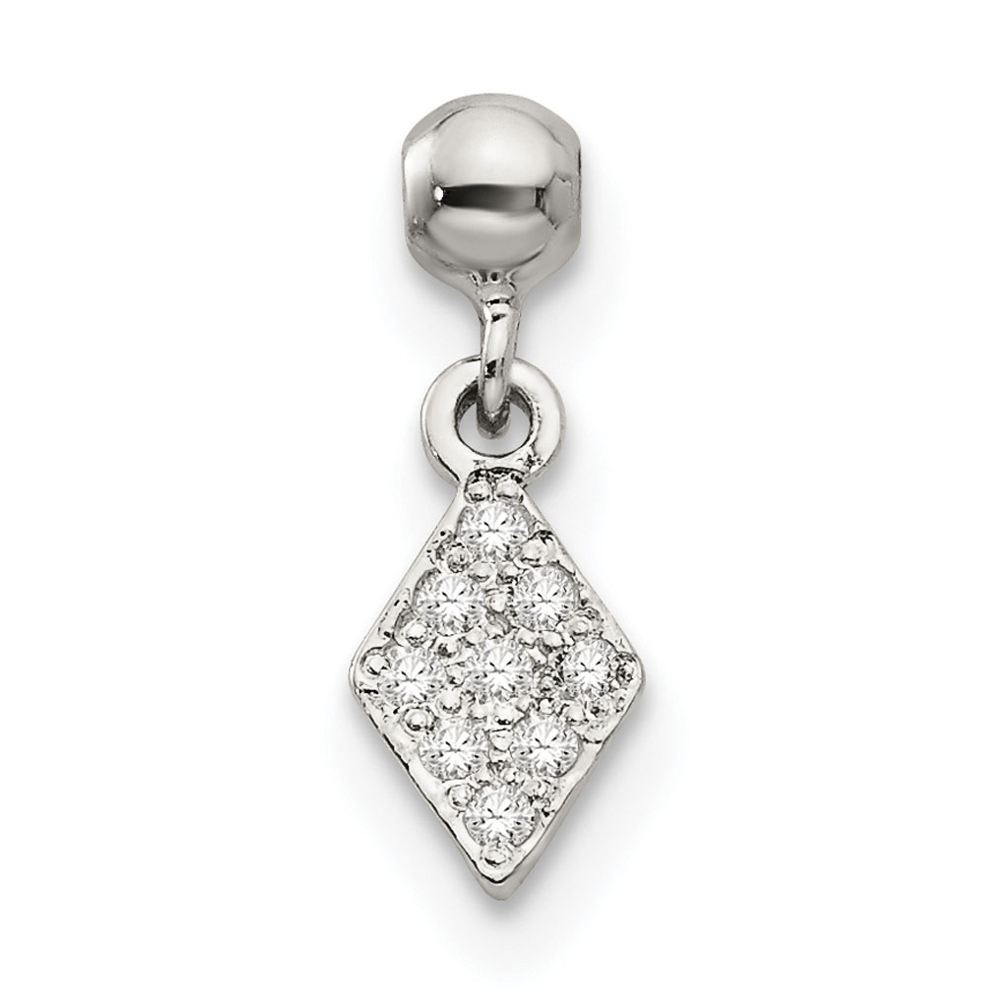 925 Sterling Silver w//CZ Horse Shoe Dangle Charm Pendant by Mio Memento