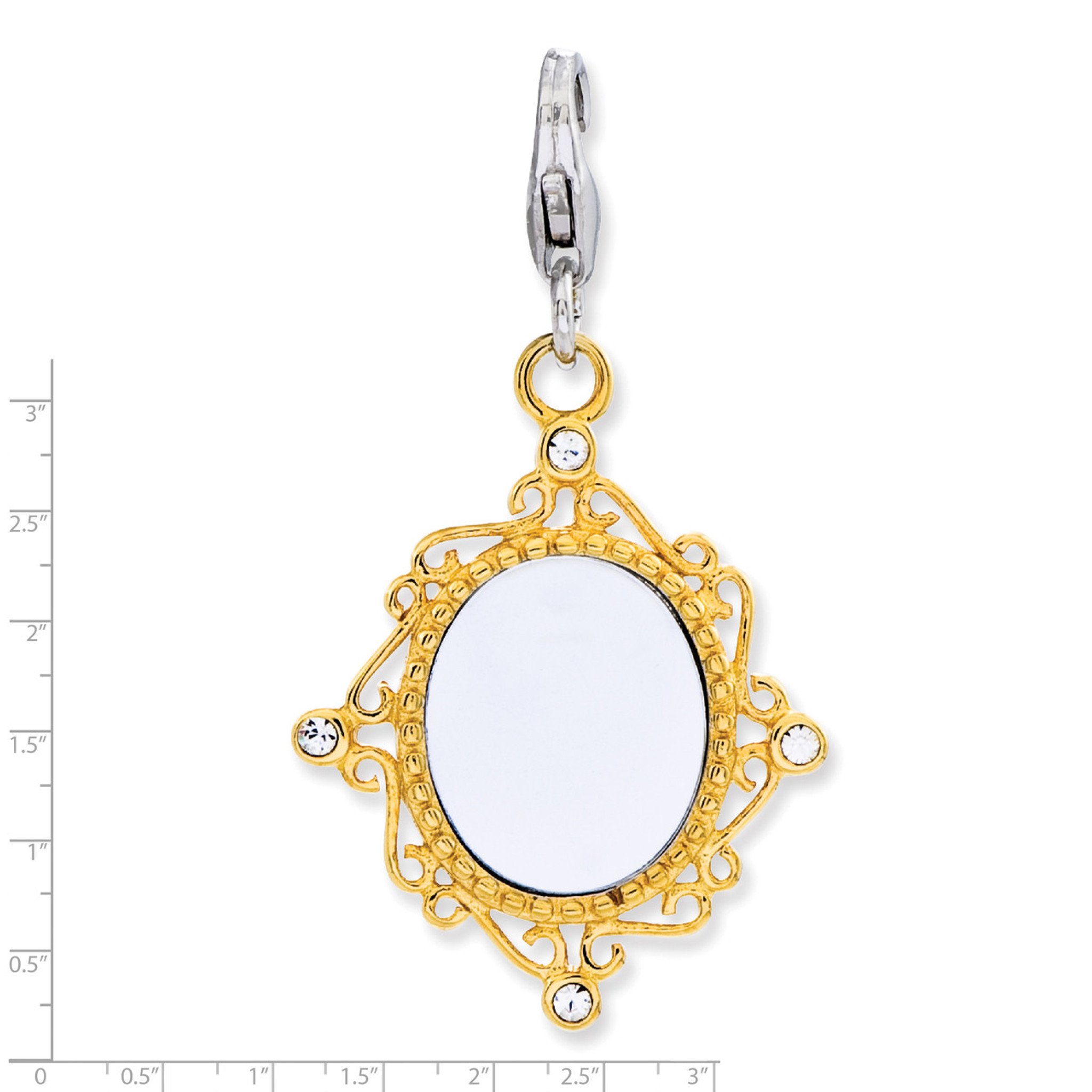 1 pc Gold Plated Sterling Silver Bracelet Charms-CZ Diamond Ring with clasp