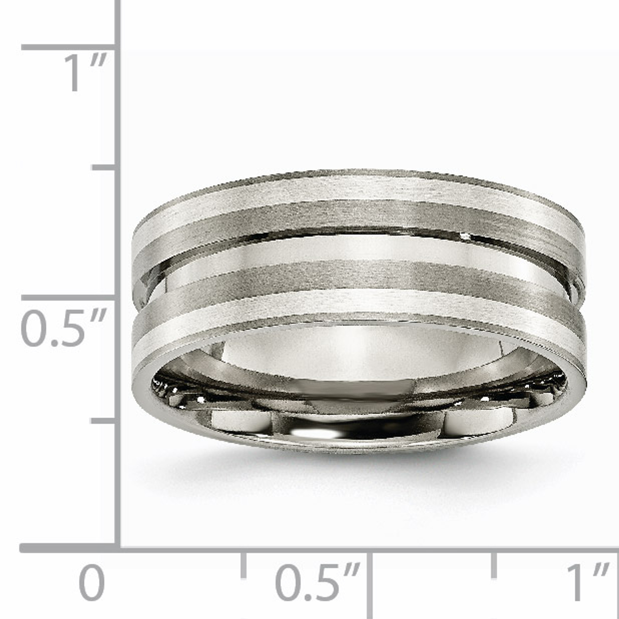 Titanium Sterling Silver Inlay Flat 8mm Brushed Band