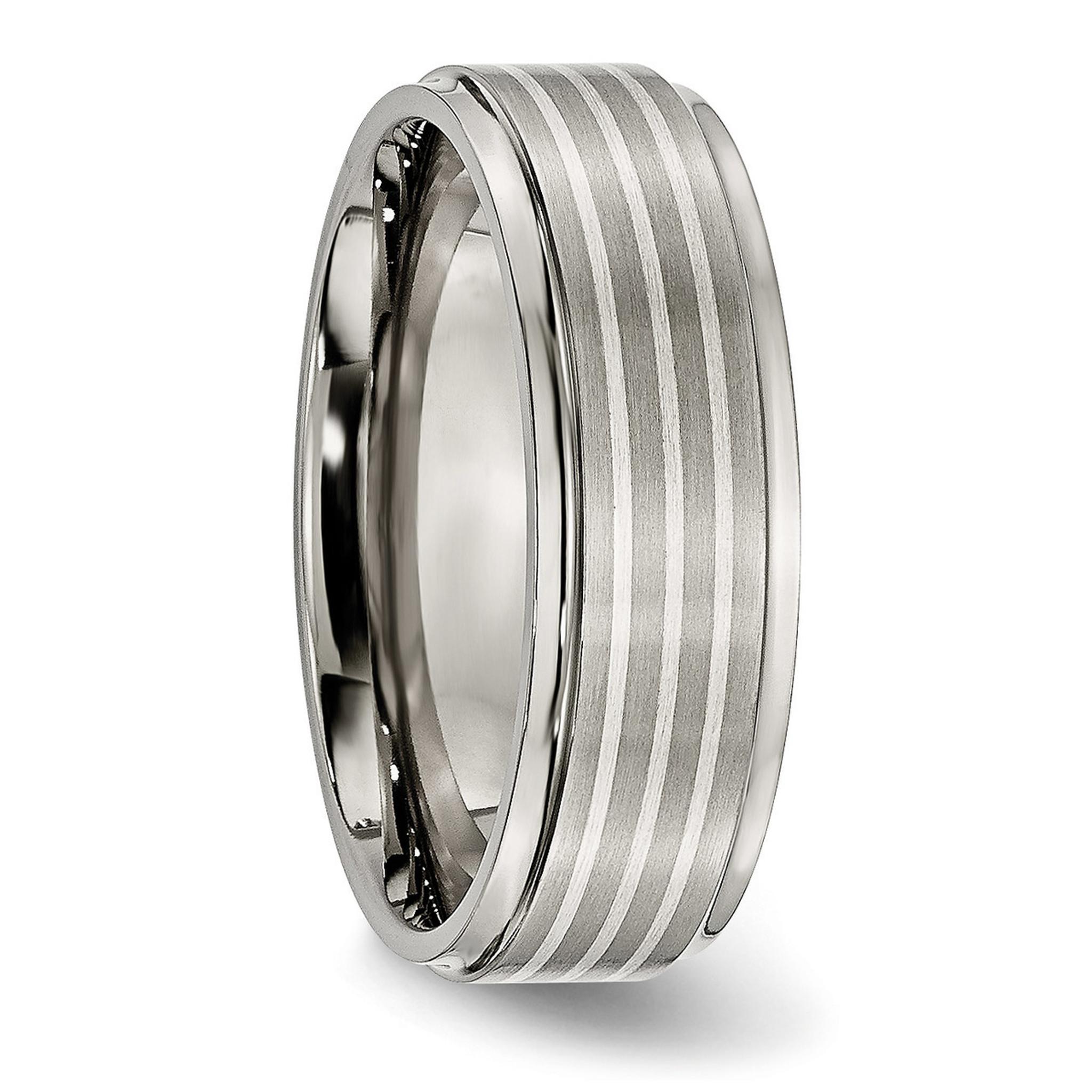 Titanium Ridged Edge 7mm Brushed and Polished Band