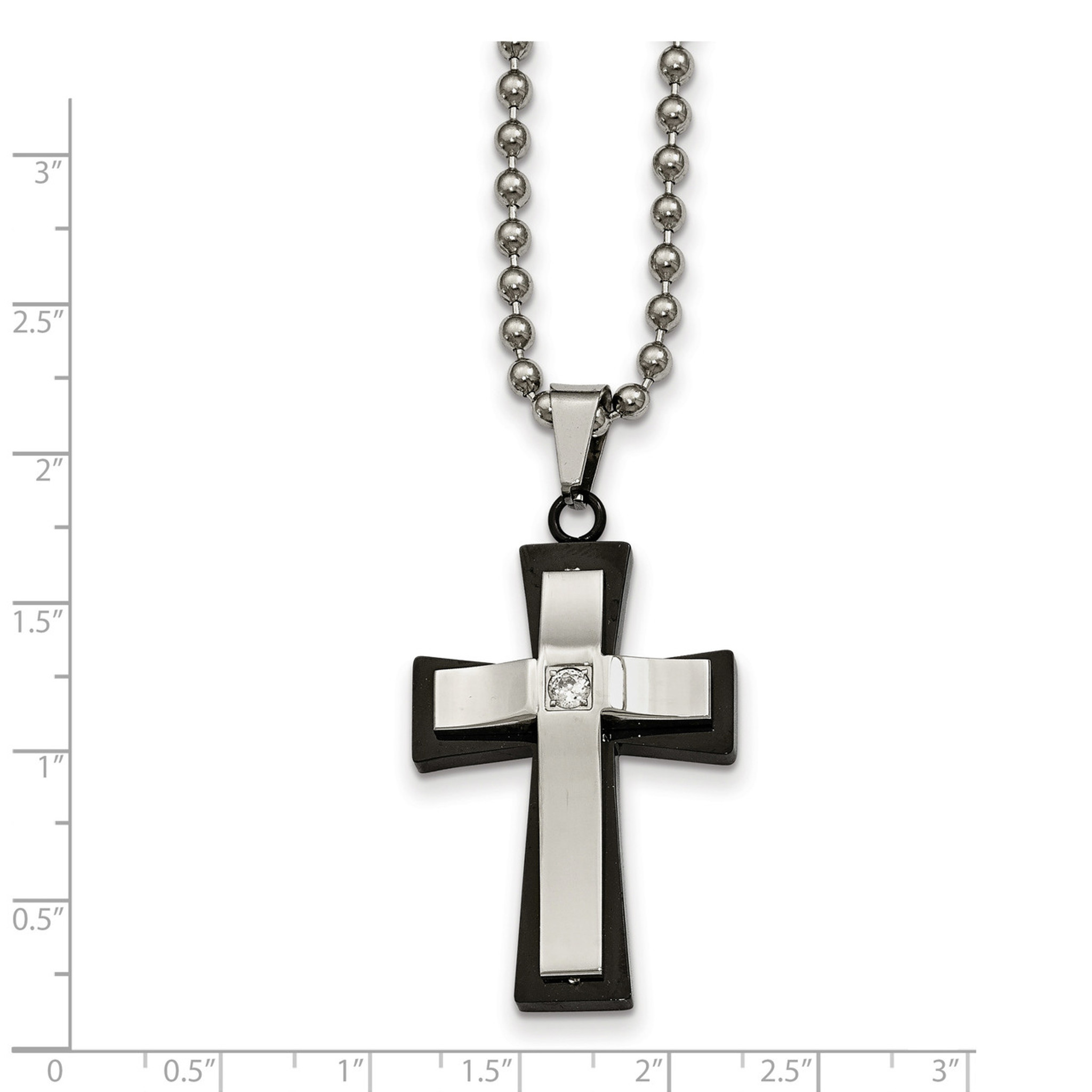 Stainless Steel Black IP-plated Cross with CZ Polished Necklace