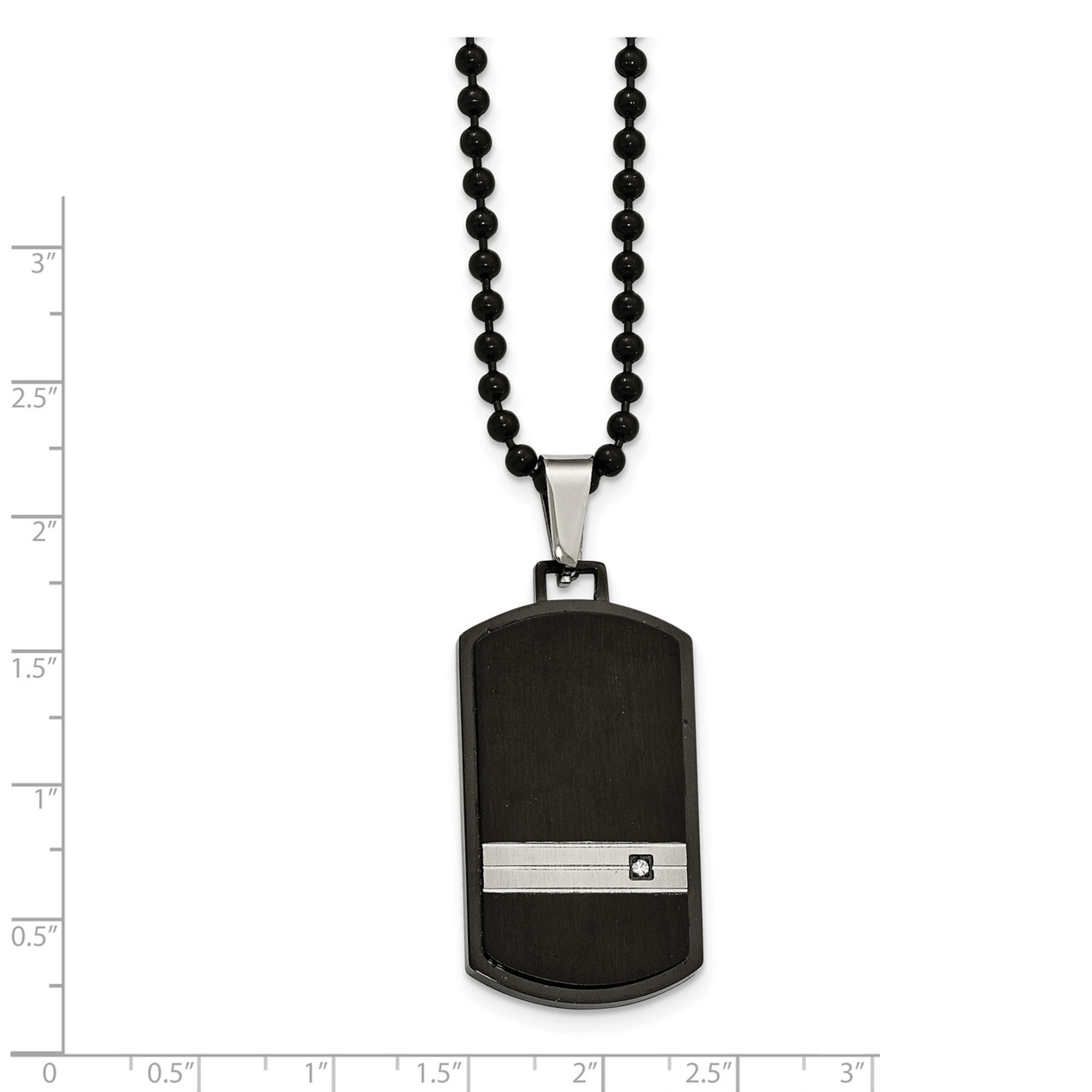 Stainless Steel Polished and Laser Cut Black IP CZ Necklace
