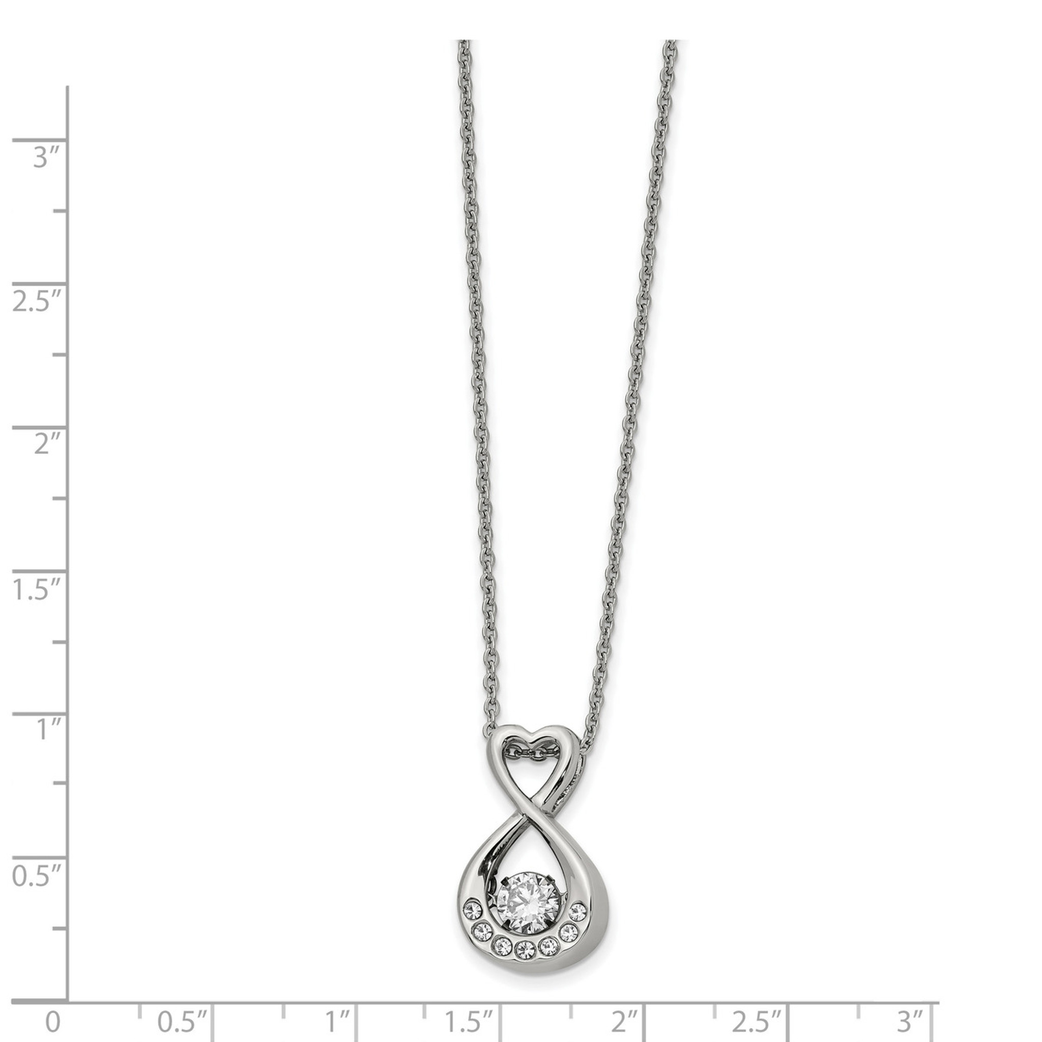 22 Inch Stainless Steel Polished Heart with Crystal Necklace