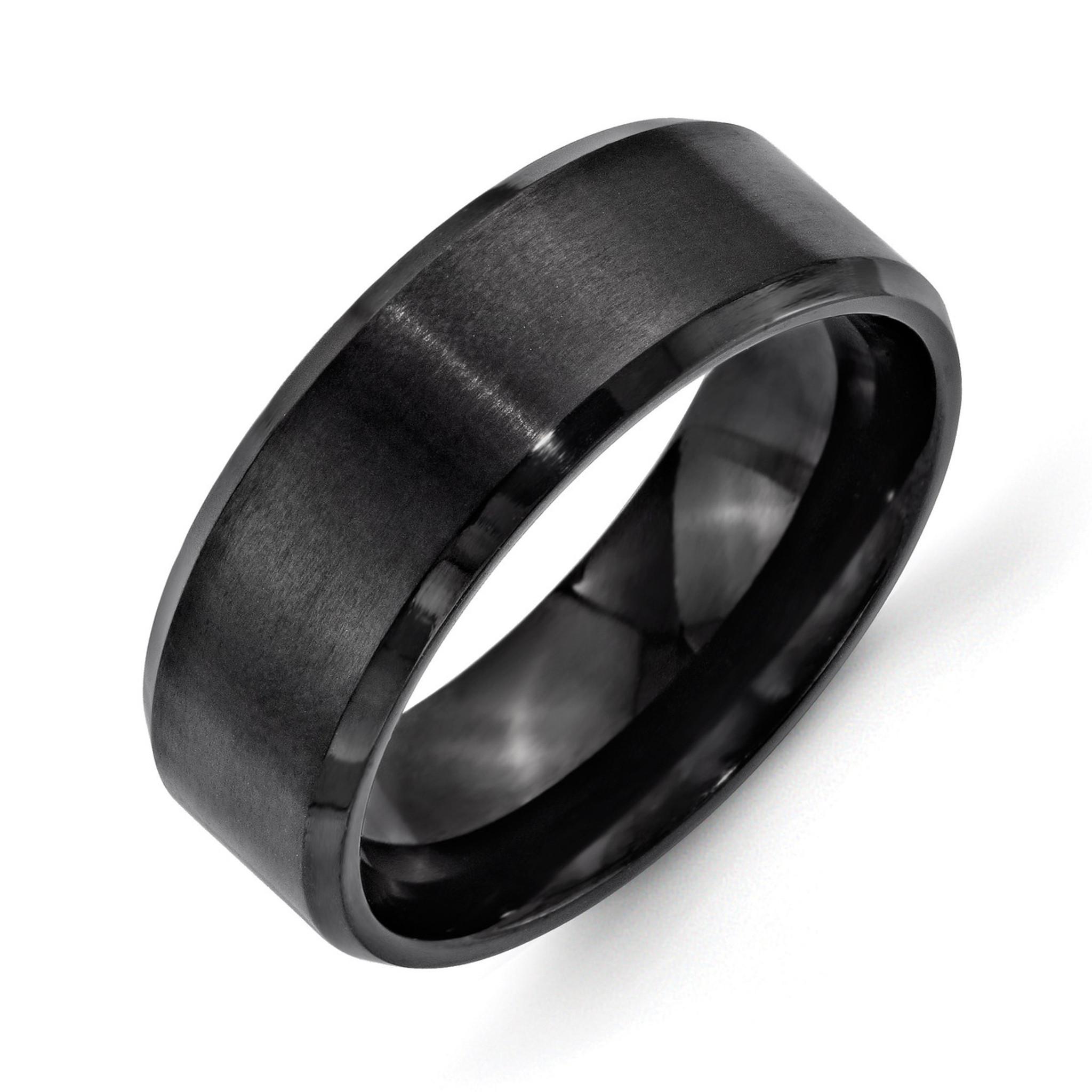 Stainless Steel 6mm Black IP-Plated Brushed//Polished Beveled Edge Wedding Band