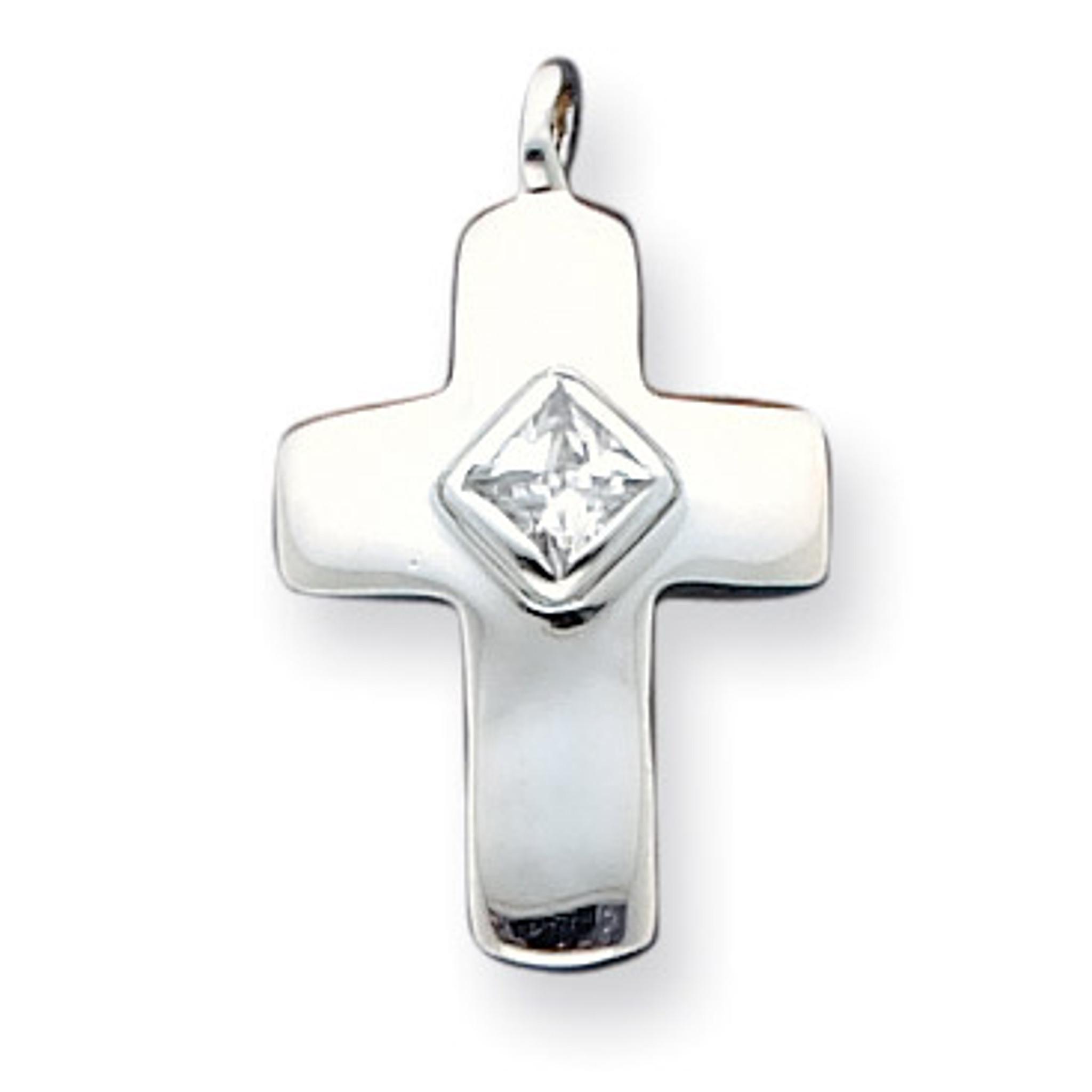 Sterling Silver Antiqued Cross Synthetic CZ Pendant