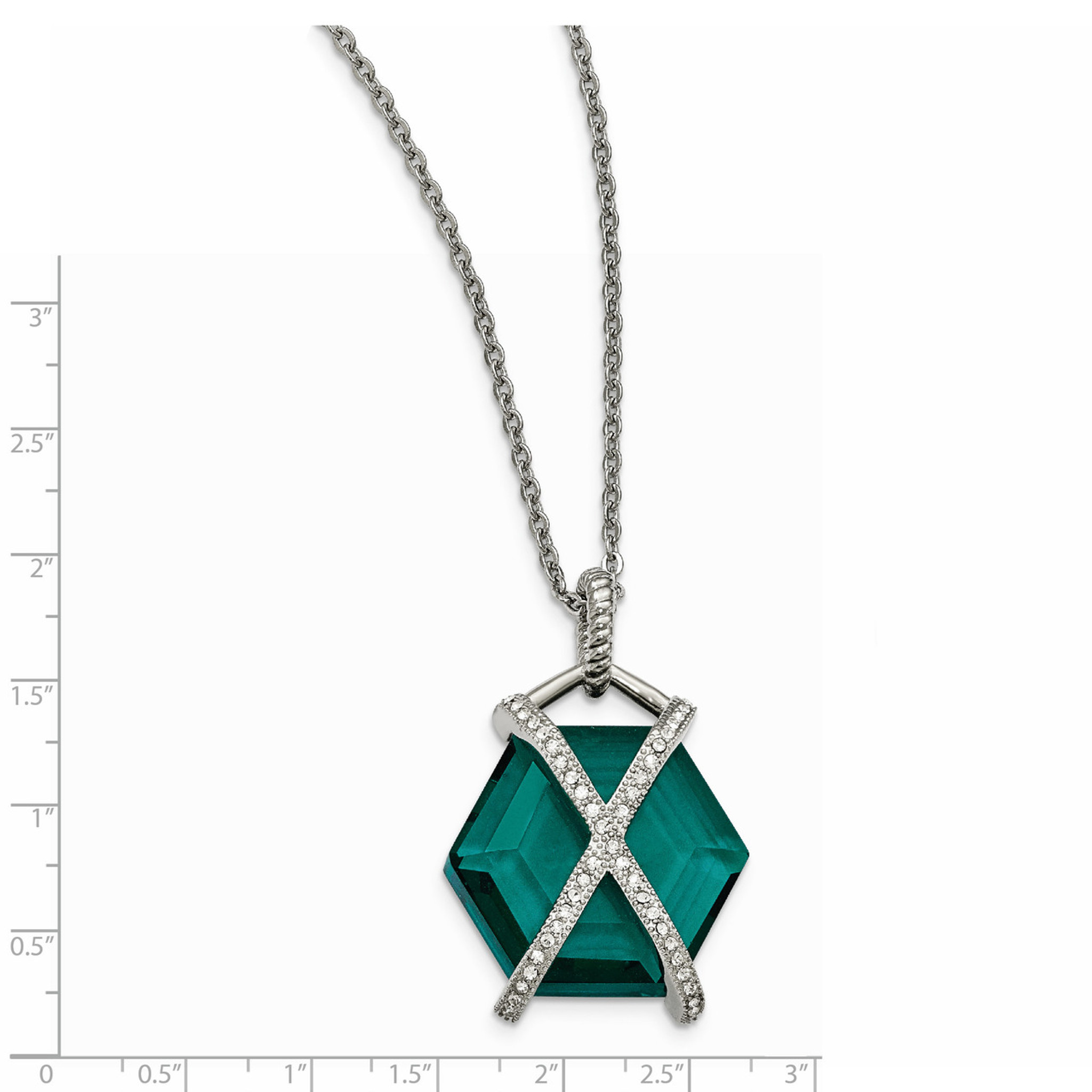 """Chisel Stainless Steel Polished Multi Color Glass Pendant Necklace 18/"""" w// 2/"""" Ext"""
