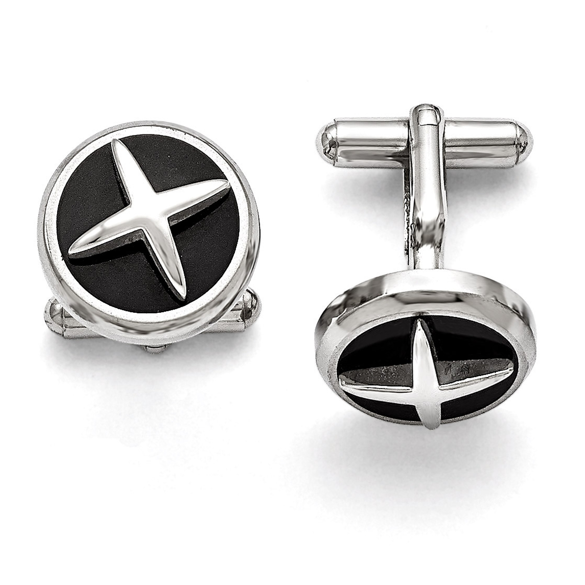 18mm x 18mm Stainless Steel Polished Enameled X Cuff Links