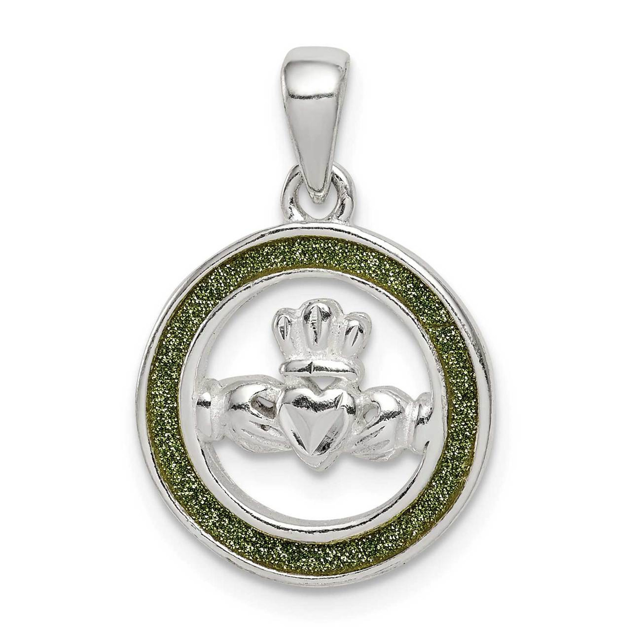 Sterling Silver Glitter Infused Heart Charm Pendant