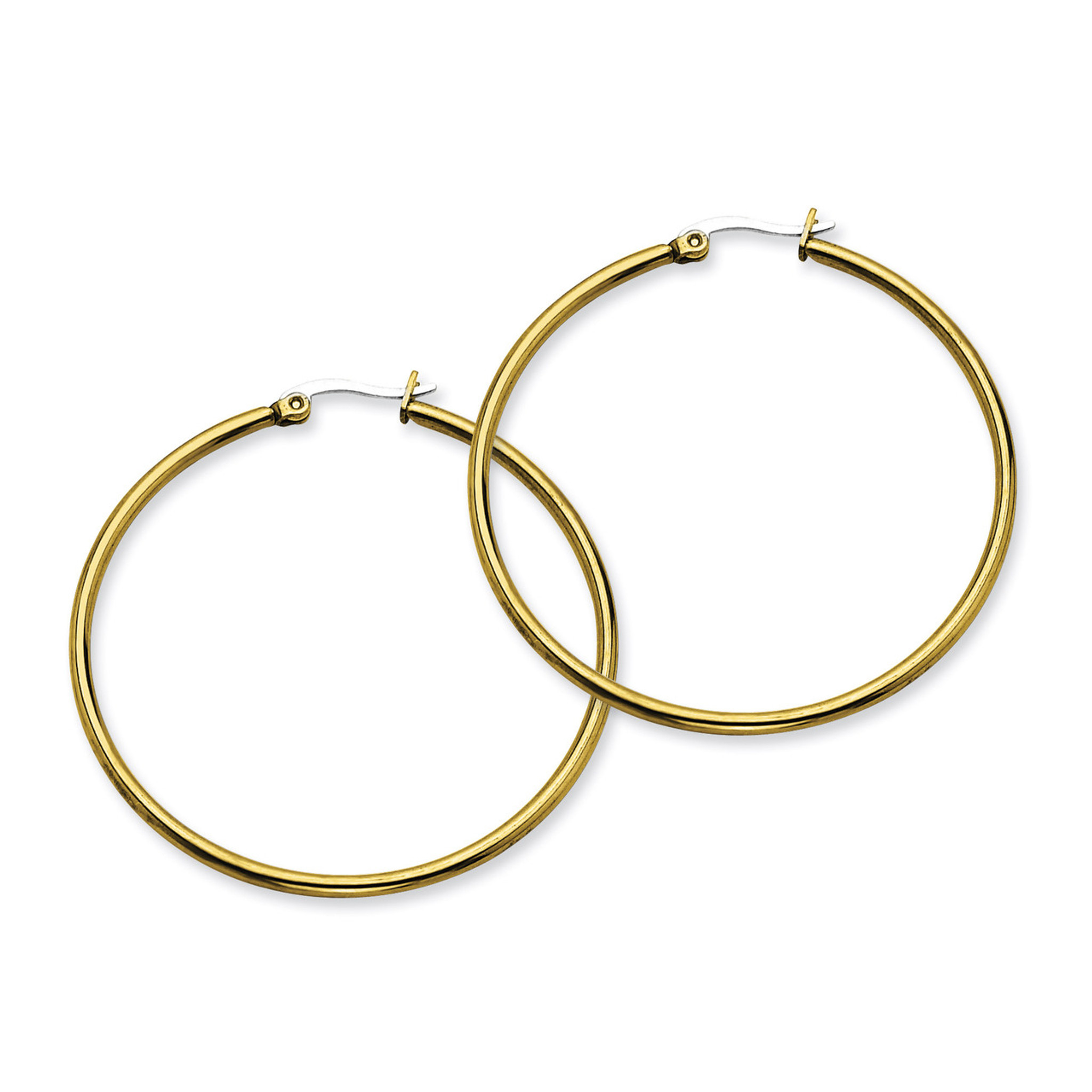 Stainless Steel Polished Yellow IP-plated Post Hoop Earrings