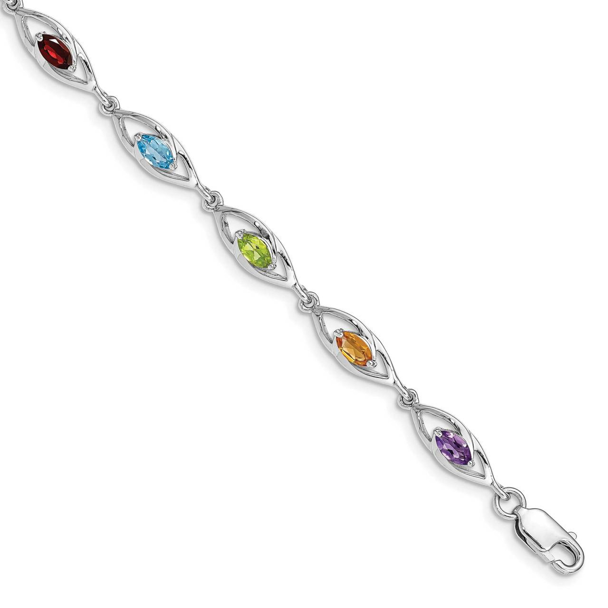 Sterling Silver Rhodium Plated Amethyst Bracelet