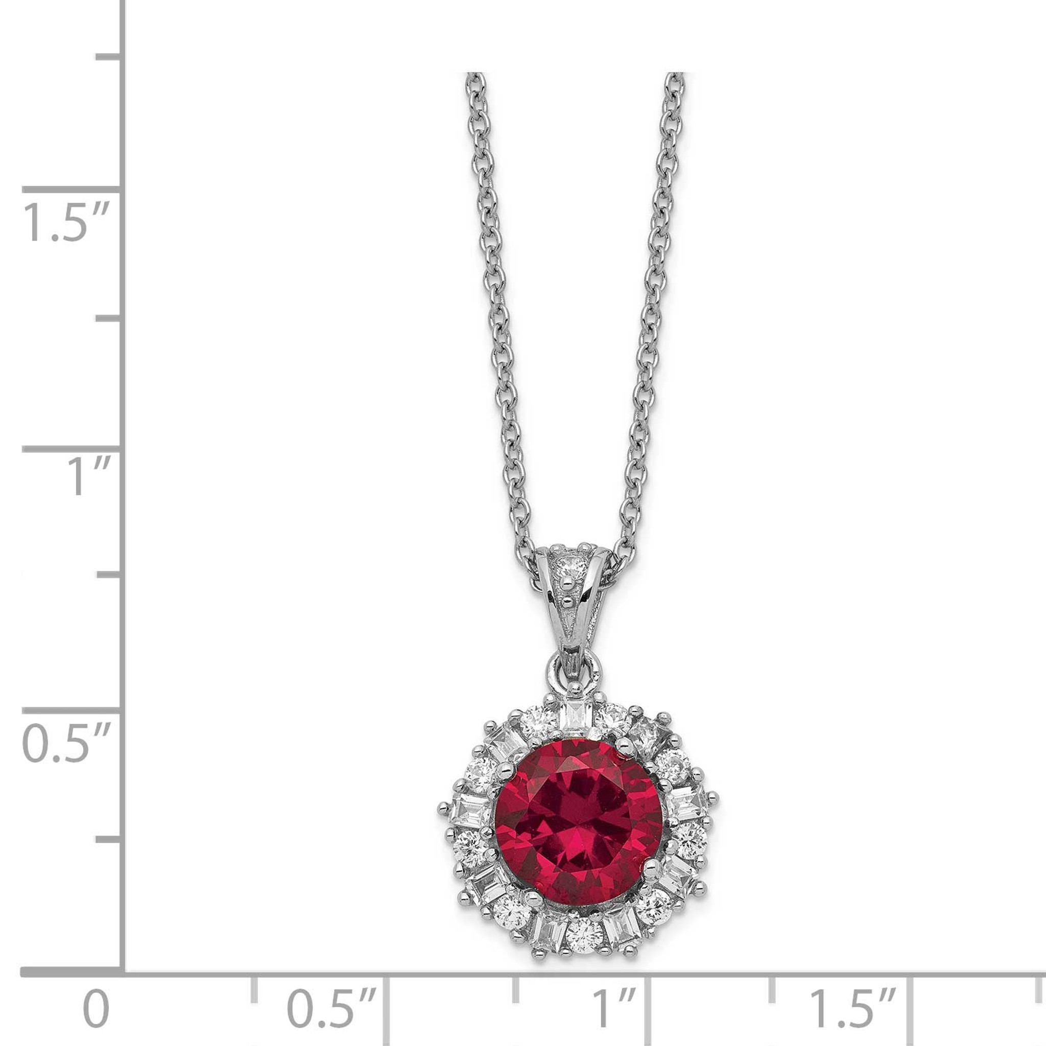 Jewelry Necklaces Necklace with Pendants Cheryl M Sterling Silver Lab created Ruby and CZ 18in Necklace
