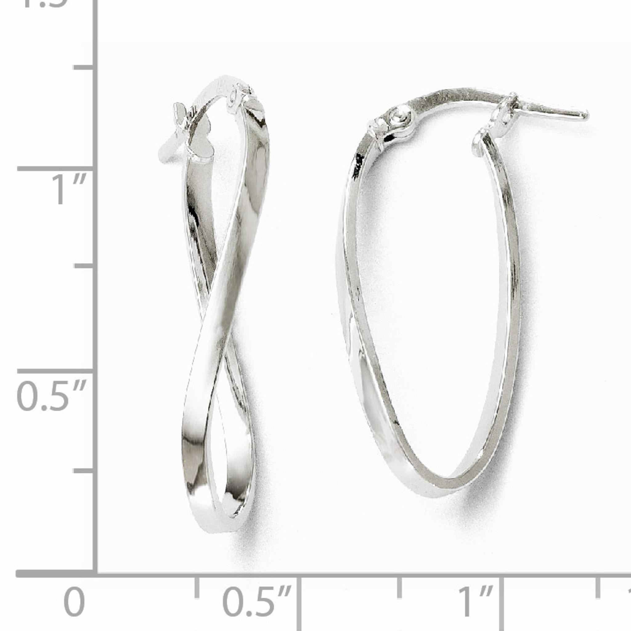Leslies 10k White Gold Polished Oval Hinged Hoop Earrings