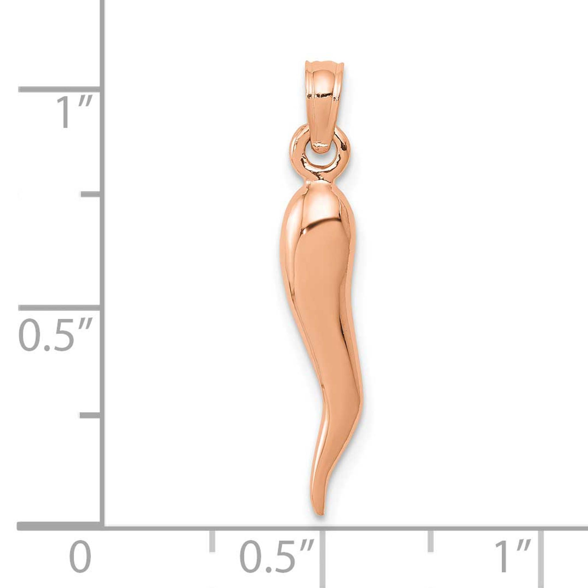 14k Rose Gold Medium Italian Horn Pendant