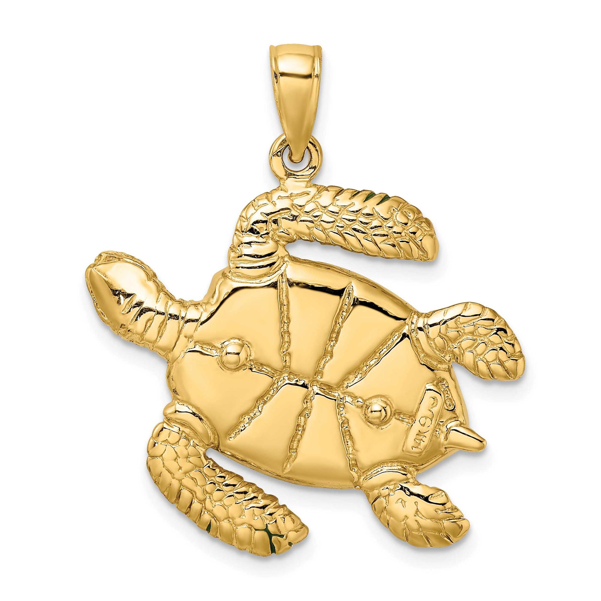 14k Yellow Gold Brown Enamel Turtle Charm