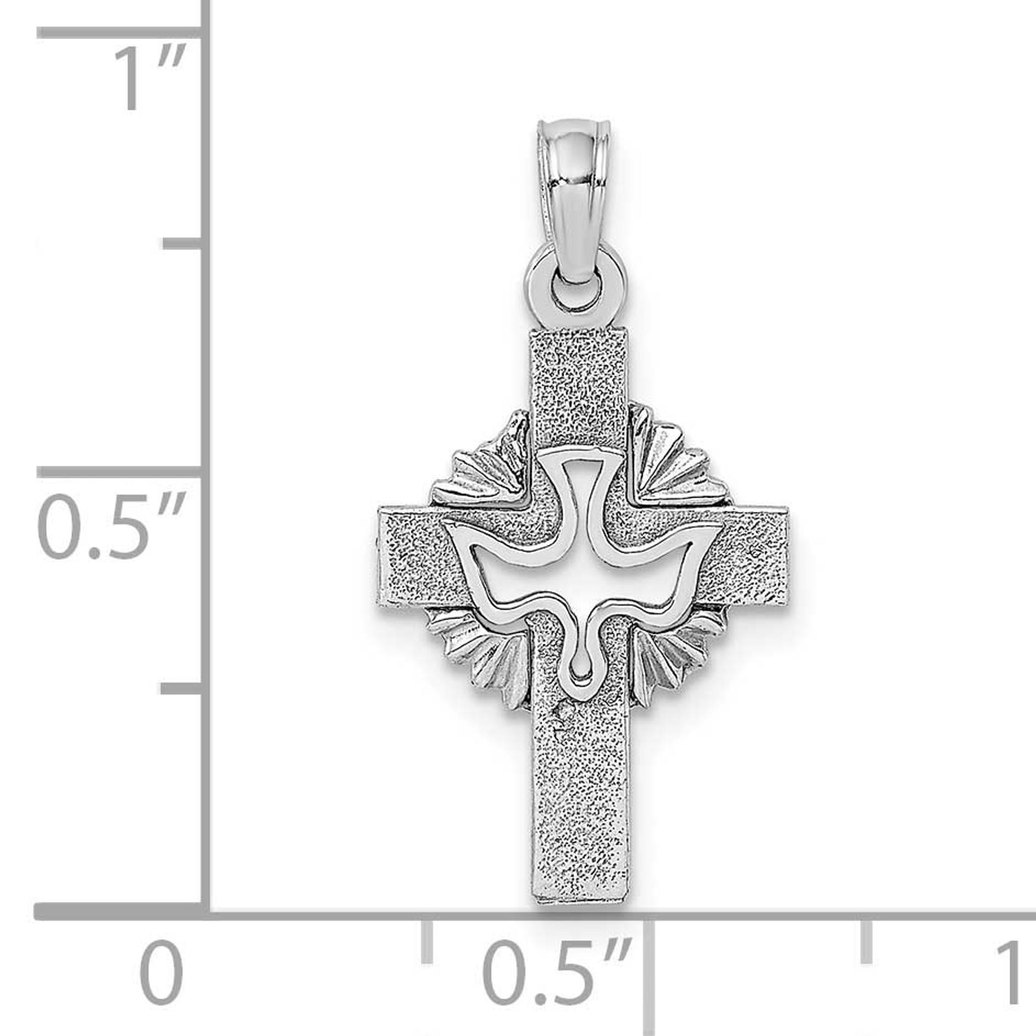 10K Yellow Gold Cut-Out Dove Center Cross Charm Pendant