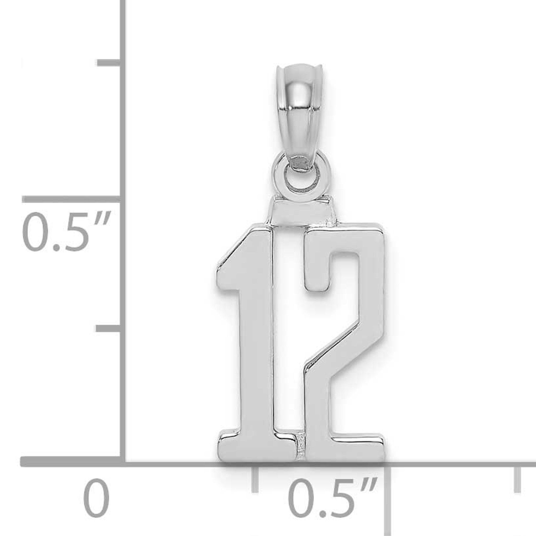 14K White Gold Polished Block Style Number 1 Charm Pendant