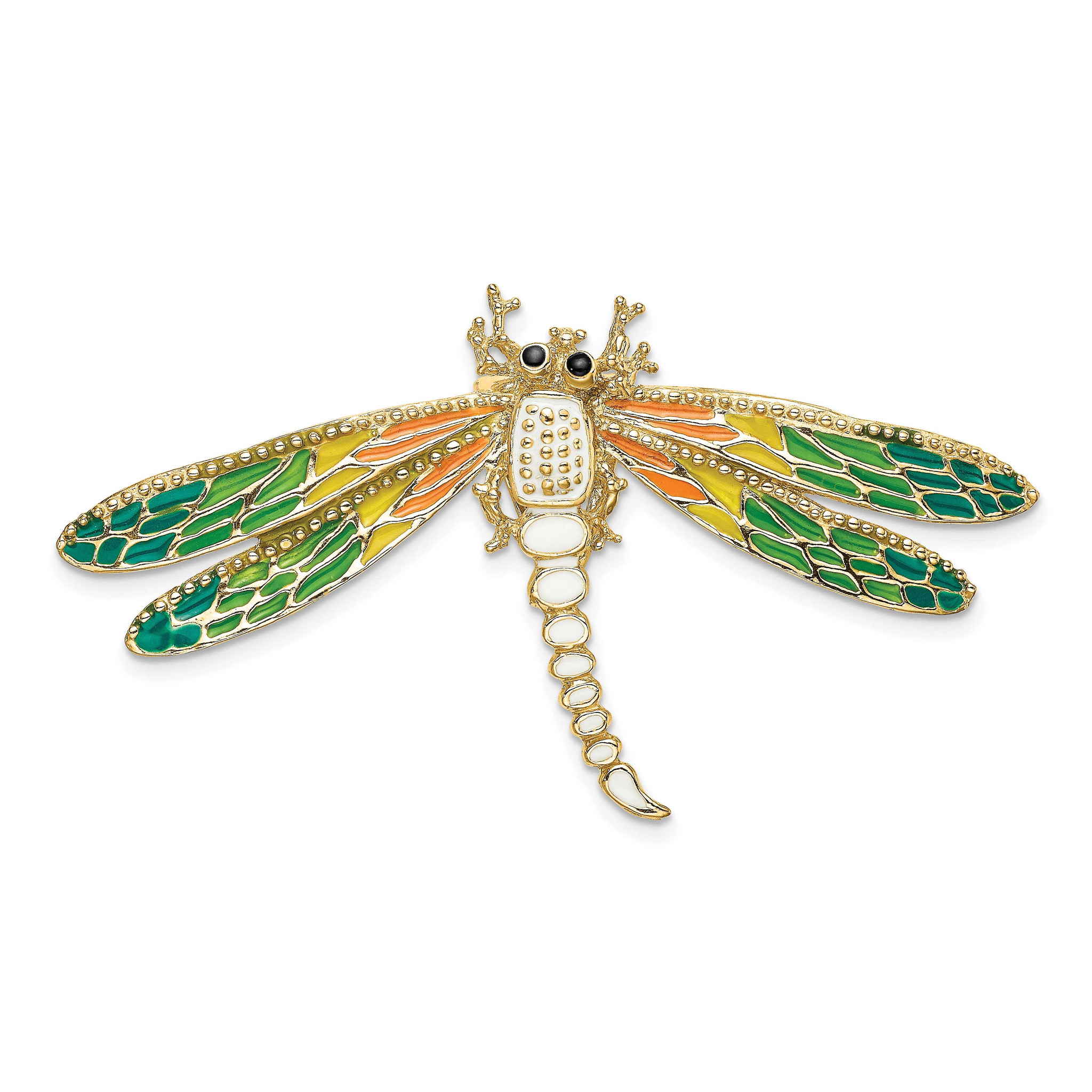 14k Gold Dragonfly Charm With Coloured Stones