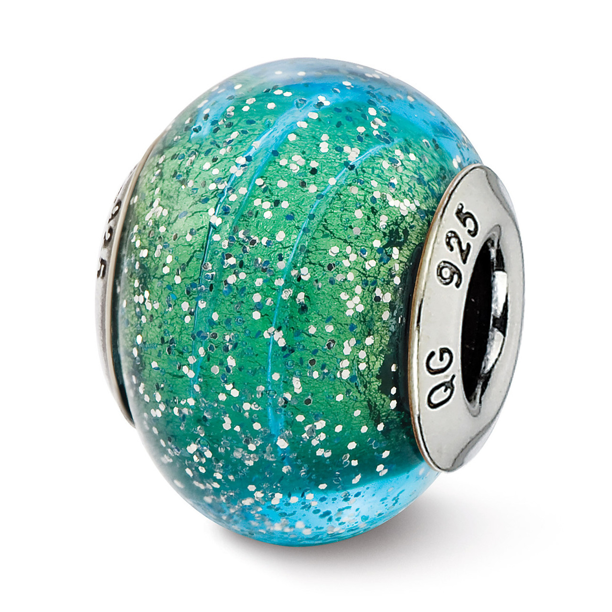 Sterling Silver Reflections Light Teal Italian Murano Bead