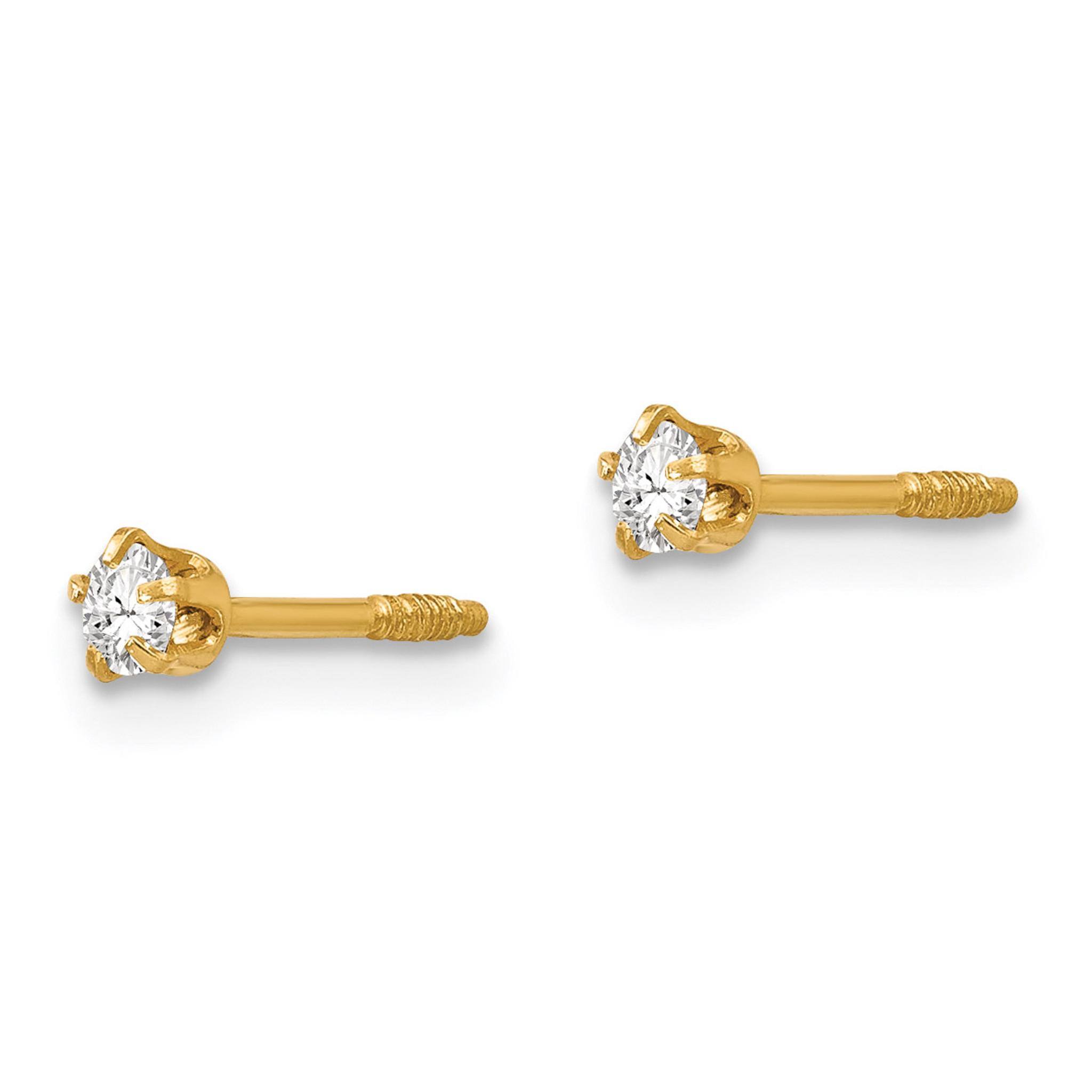 14K Yellow Gold Madi K Polished Reversible Crystal 3mm Ball Earrings 3 mm 3 mm Ball Earrings Jewelry