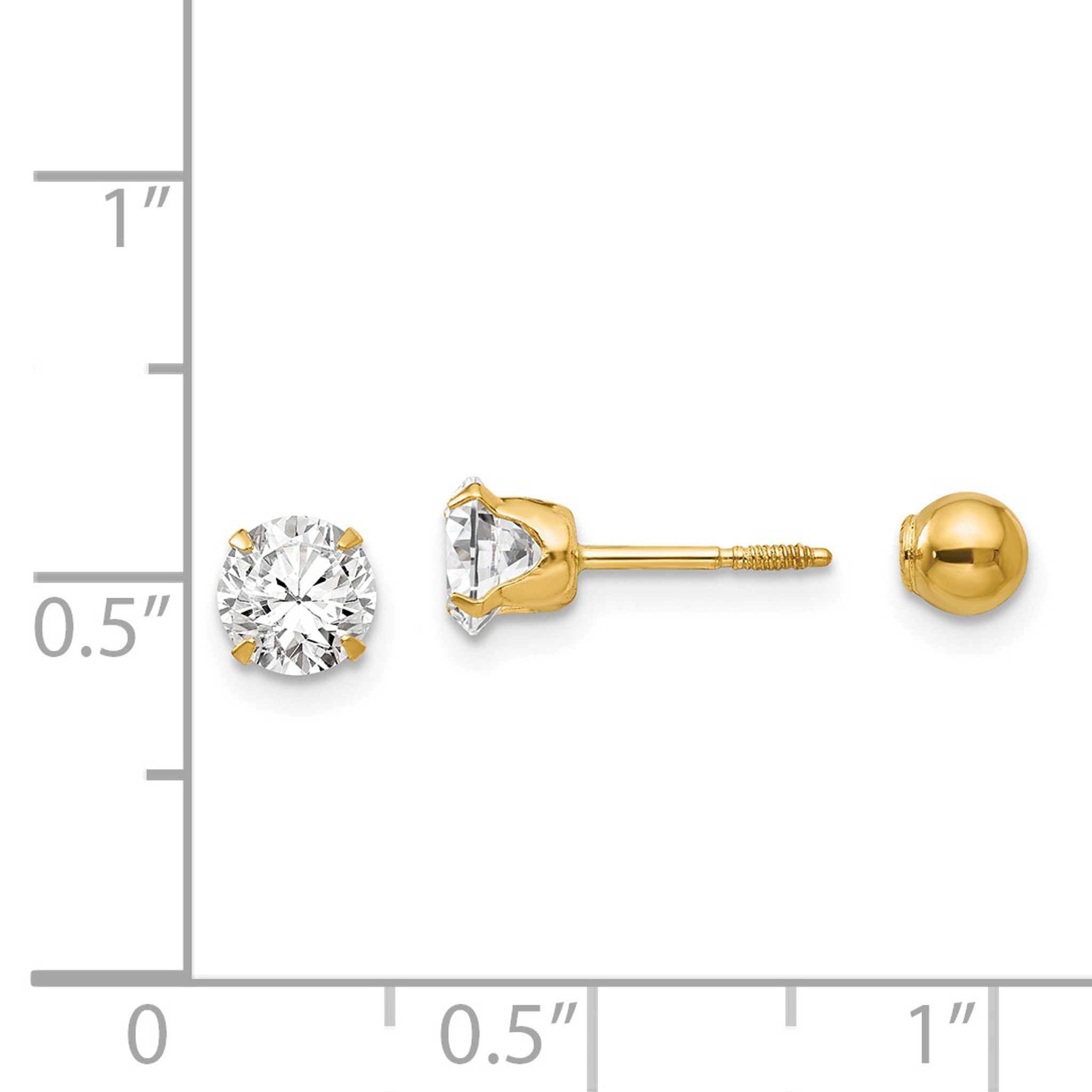14K White Gold Jewelry Ball Earrings Hollow 5 mm 5 mm Madi K Polished 5mm Ball Post Earrings
