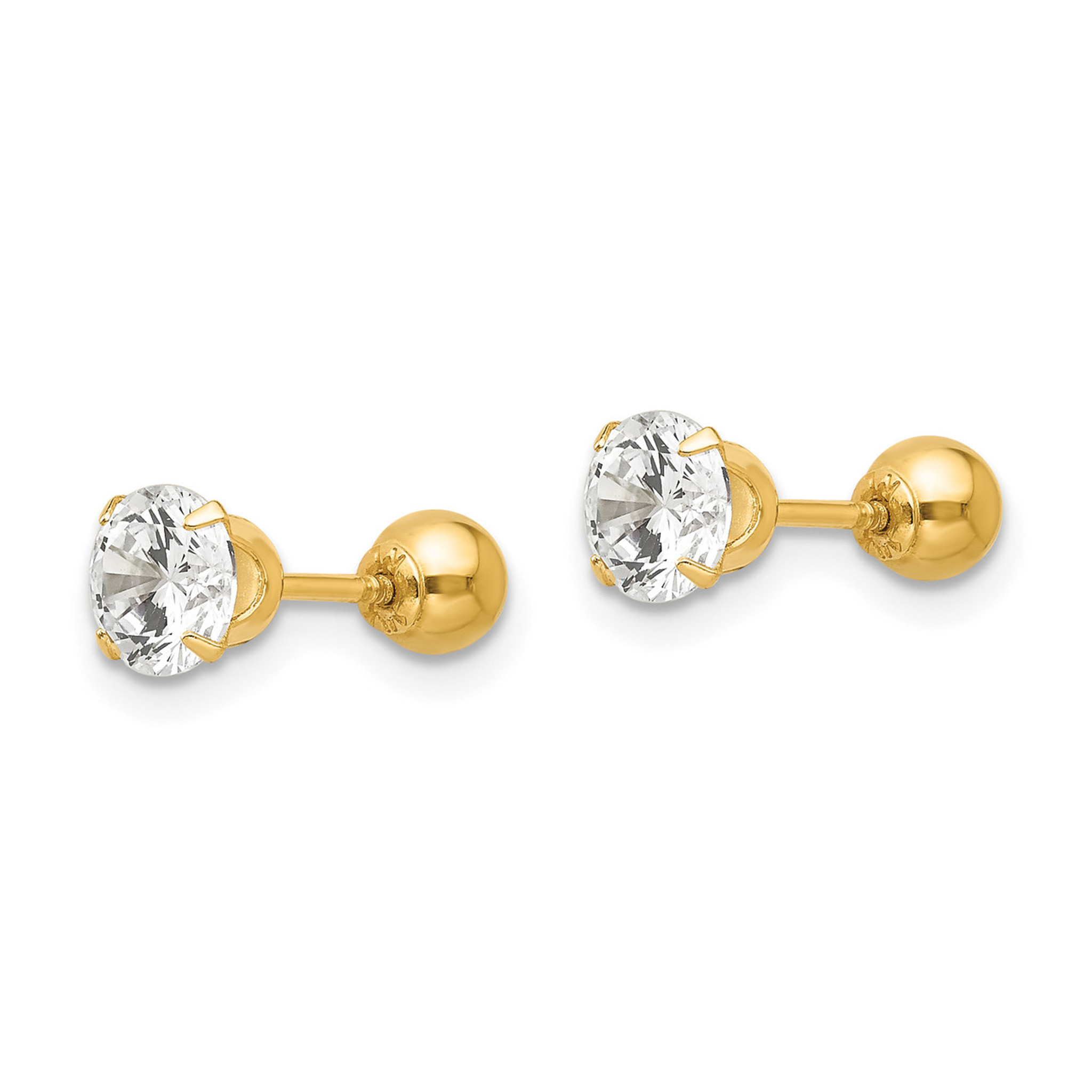 14K Yellow Gold Madi K Childrens 4 MM Reversible Ball and CZ Screw Back Stud Earrings