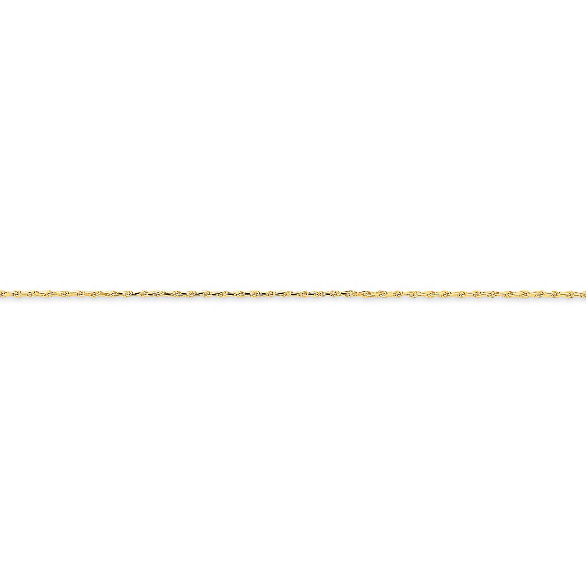 14k White Gold 1mm Machine-made Rope Chain