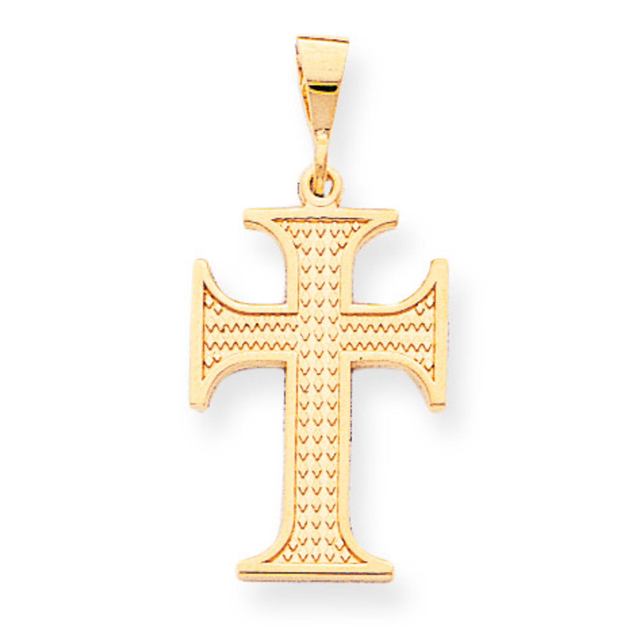 10k Yellow Gold Solid Textured Polished Flat back Cross Charm