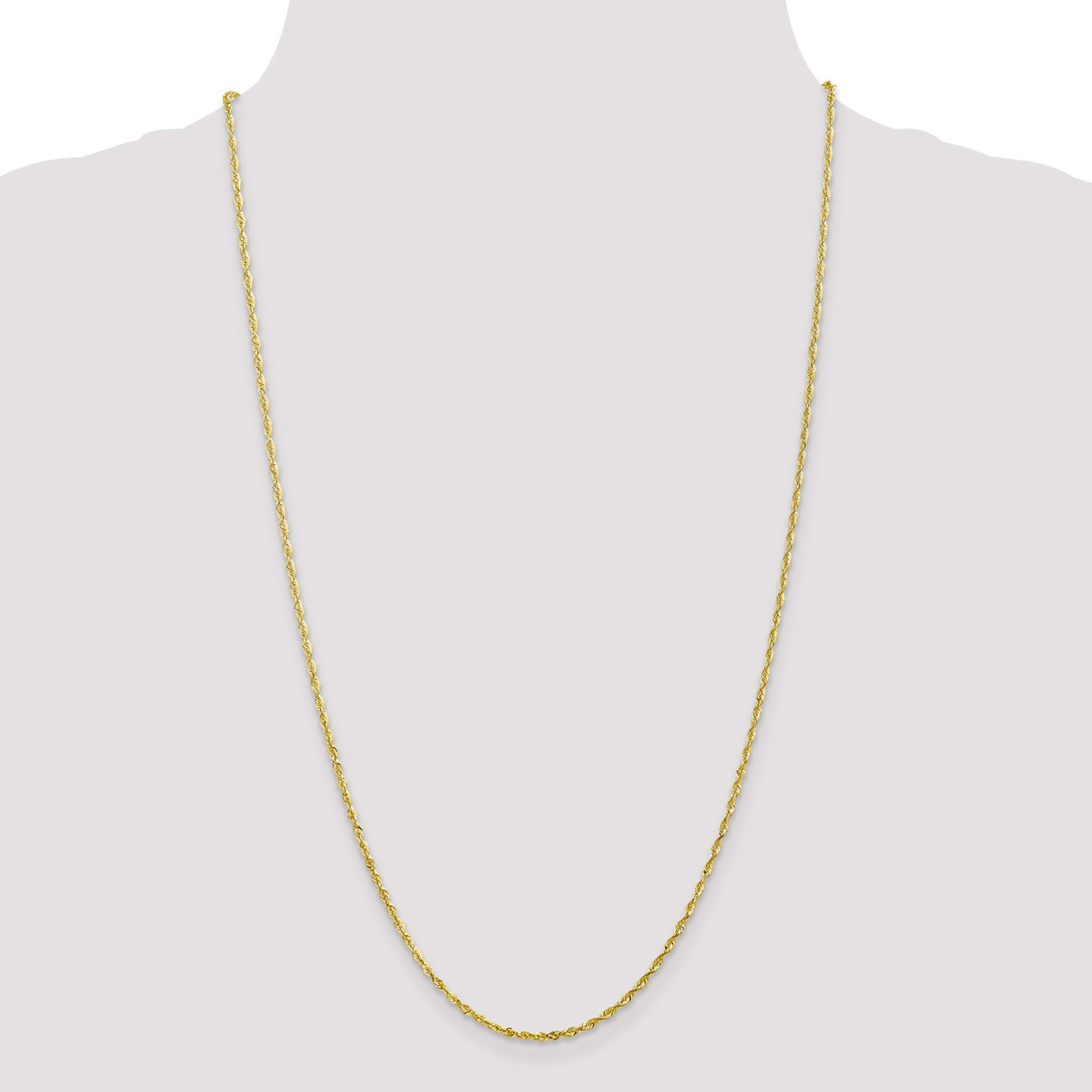 10k 2.0mm Diamond-Cut Extra-Lite Rope Chain