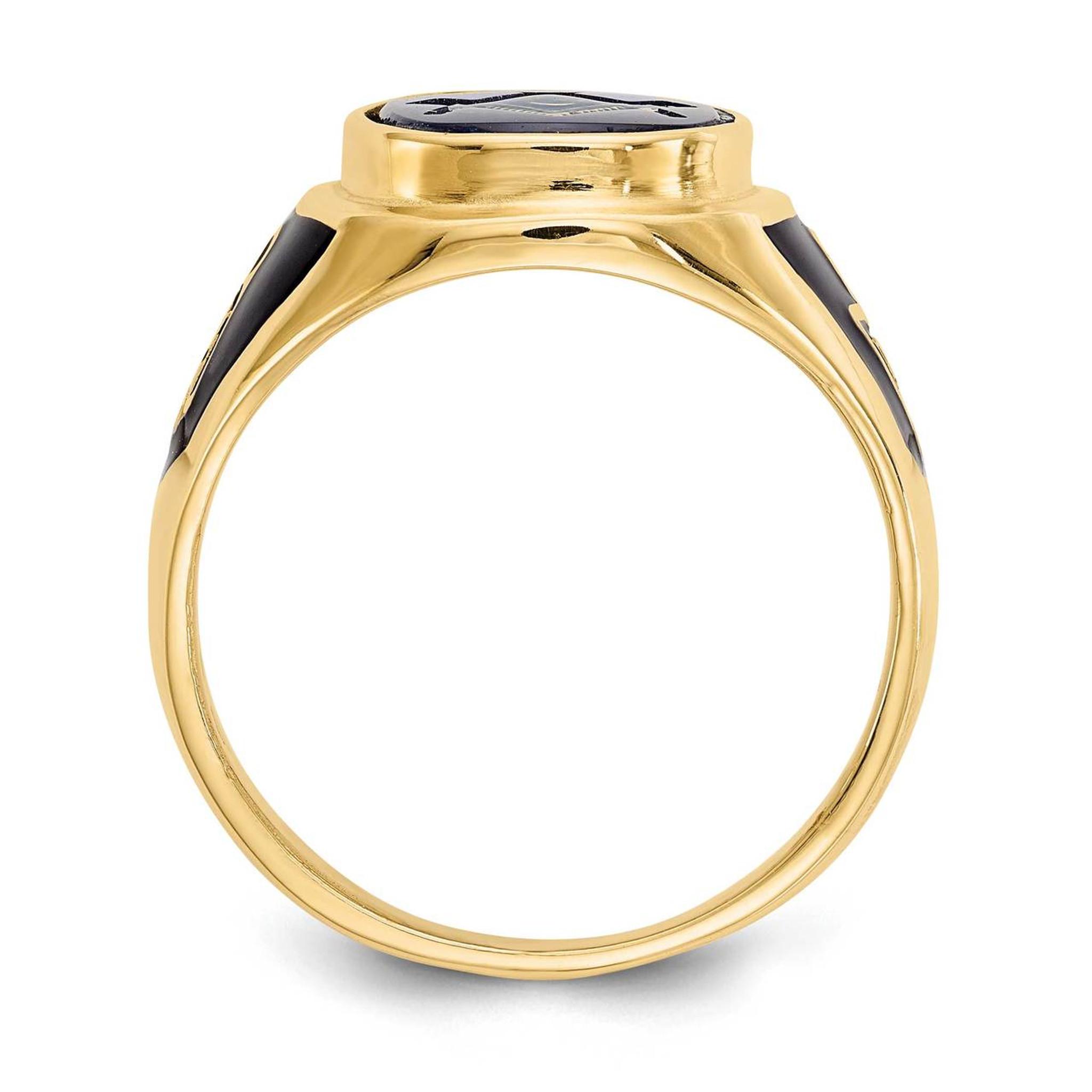 Blue Acrylic Mens Masonic Ring 10k Gold 10X25